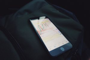 iPhone with stock graphs on