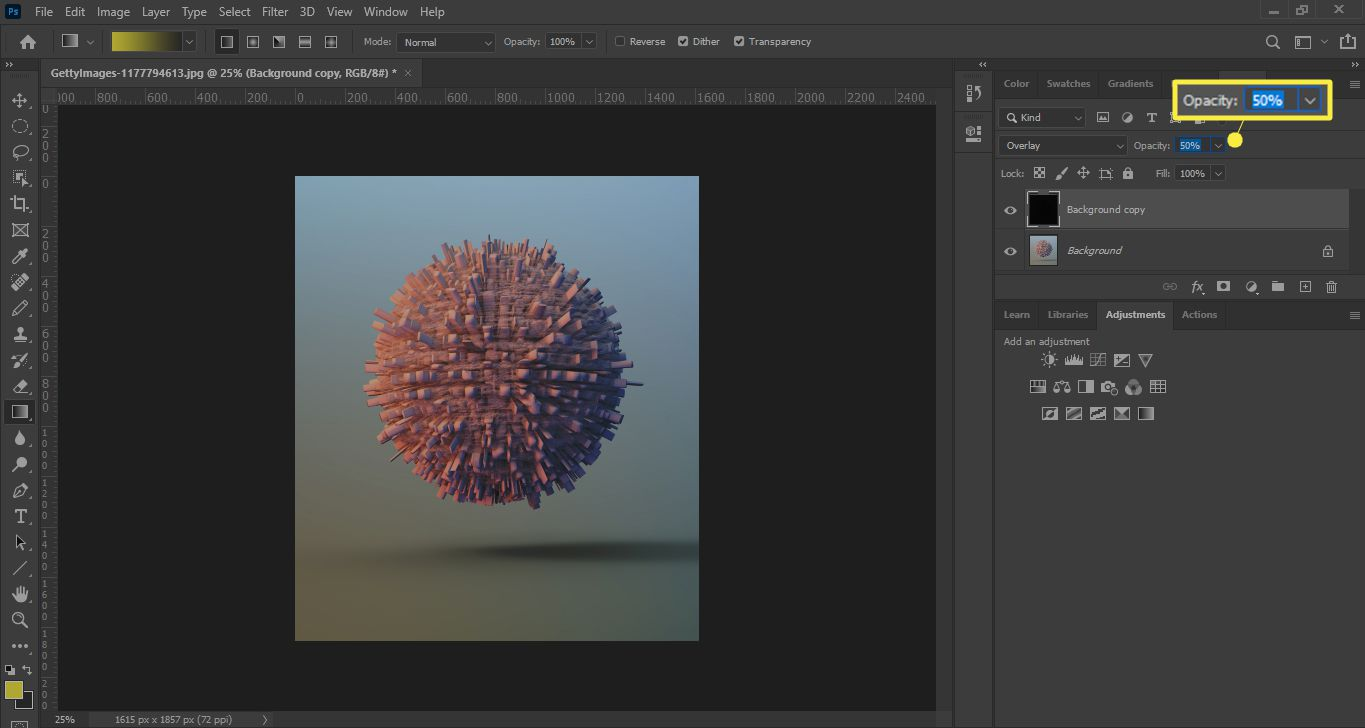 Adjust the layer Opacity in Photoshop