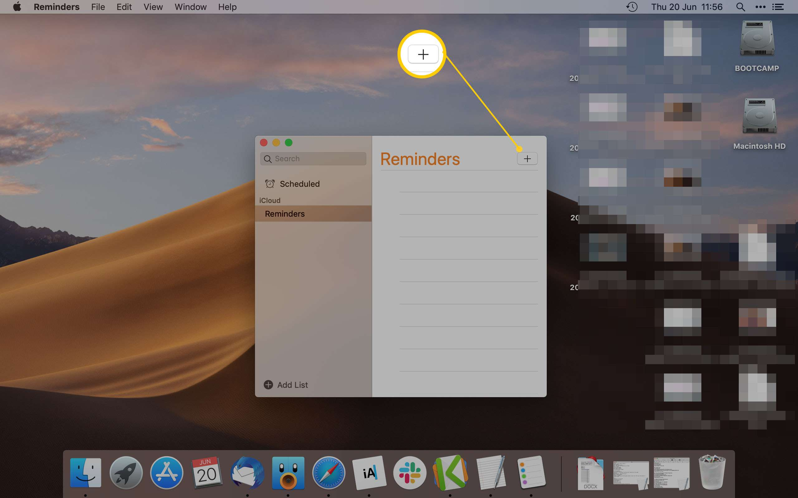 Mac Reminder App Highlighting the Add Icon