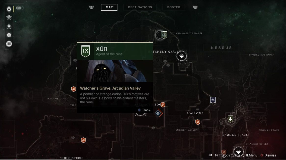 This week you'll find Xur on Nessus at Watcher's Grave.