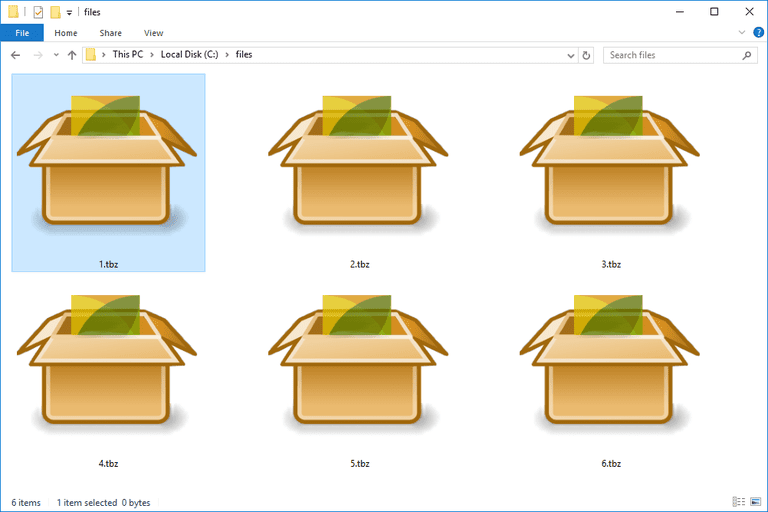 Screenshot of several TBZ files in Windows 10