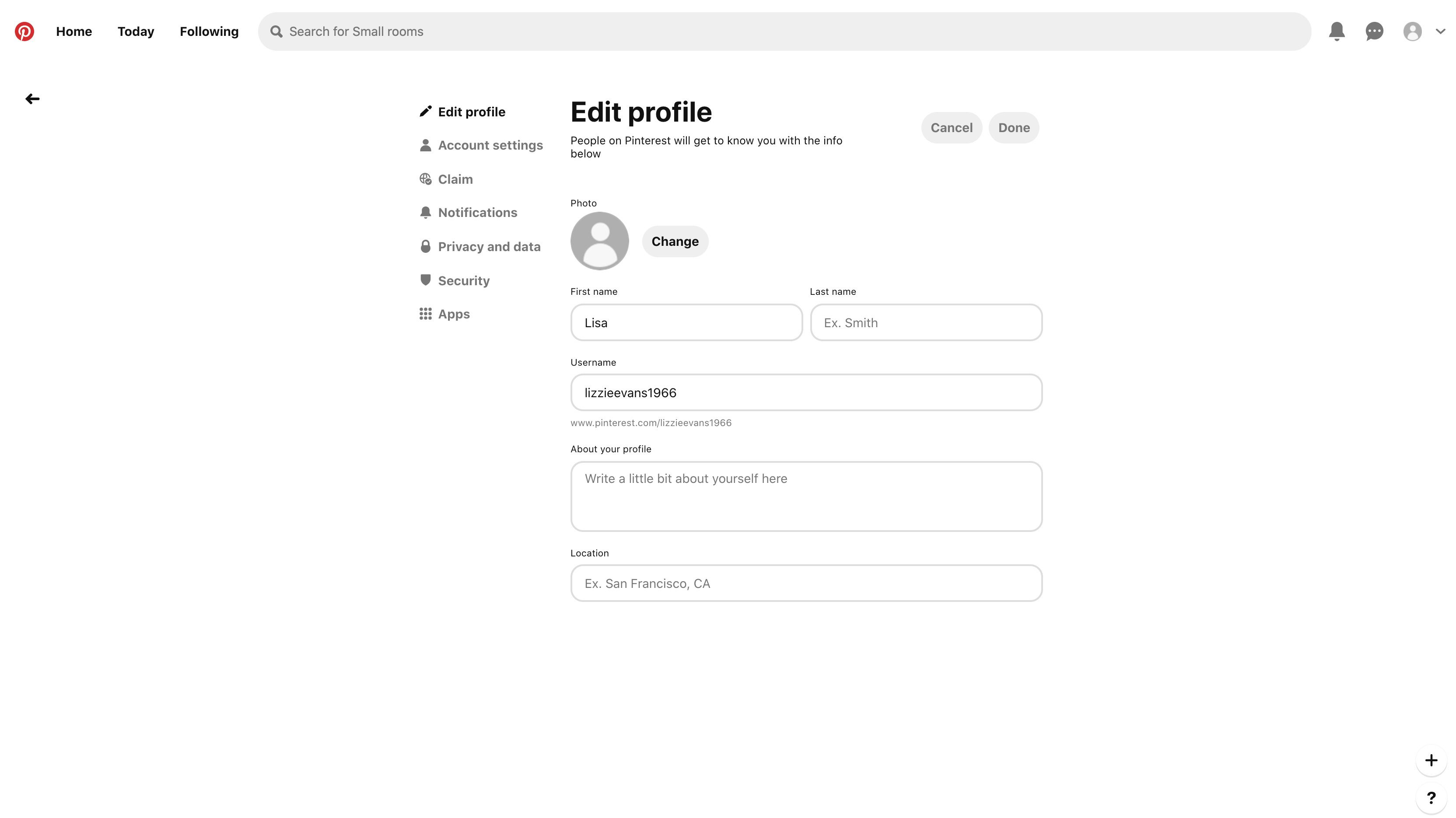 Select Settings to edit your account profile,