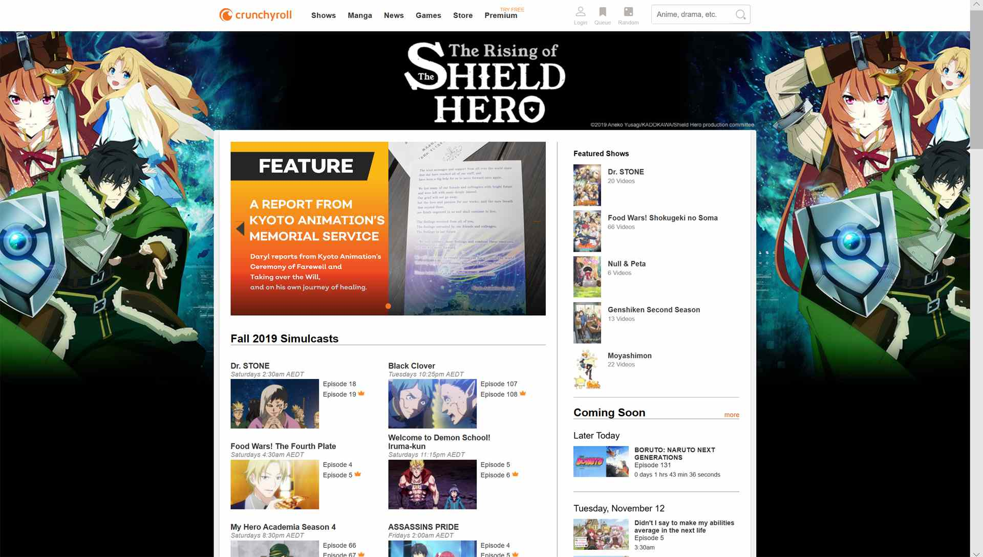 Front page of the Crunchyroll website.