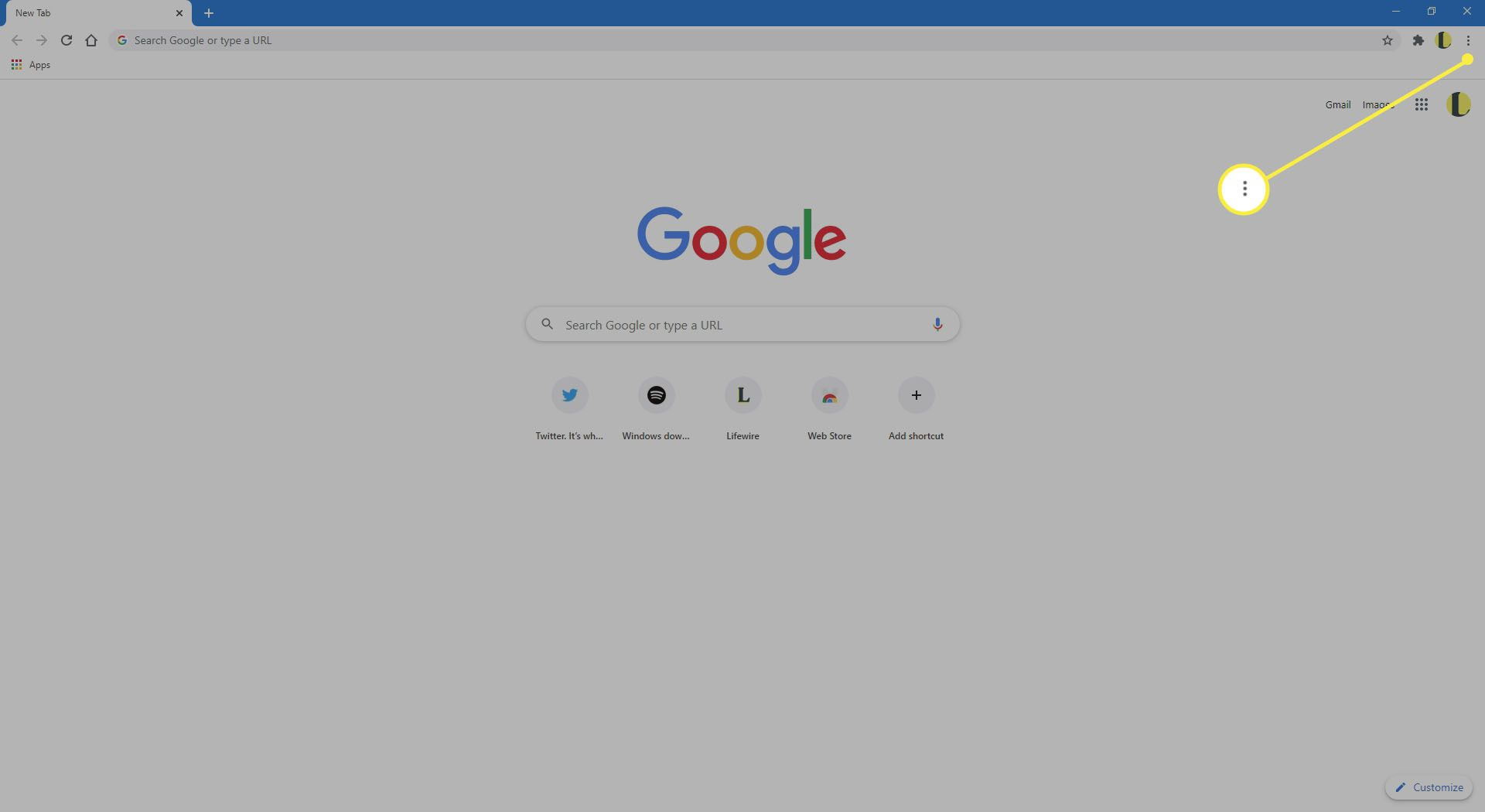 Chrome with the More Options menu highlighted
