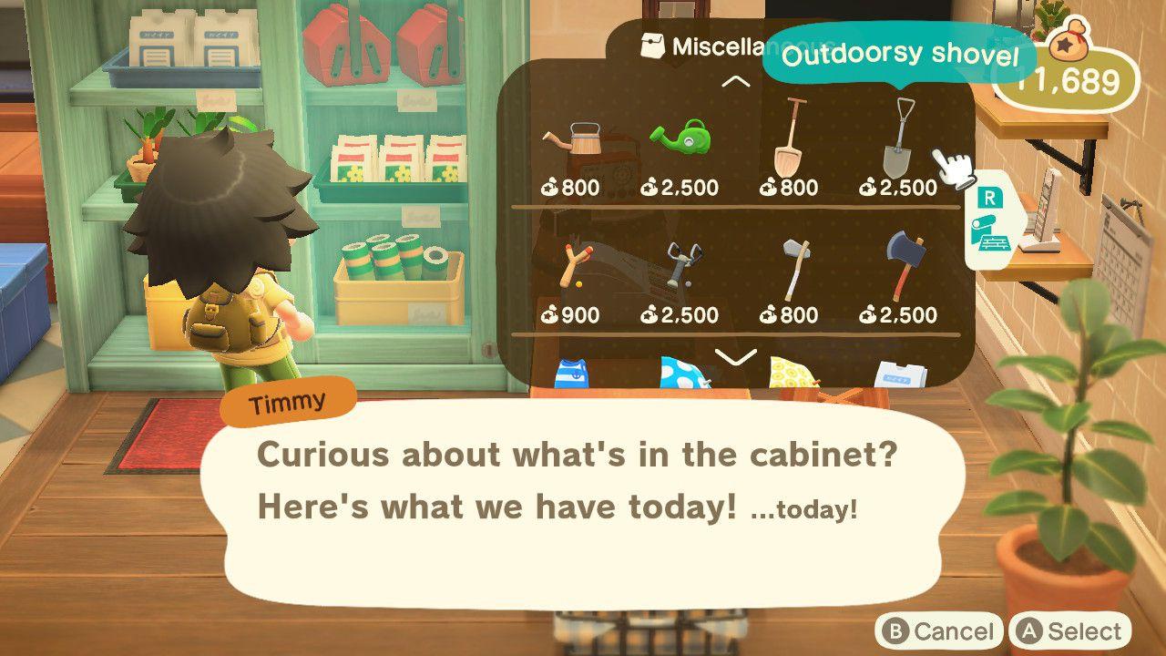 Animal Crossing character shopping at Nook's Cranny
