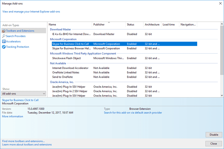 Screenshot of the Internet Explorer 11 Manage Add-ons Window in Windows 10