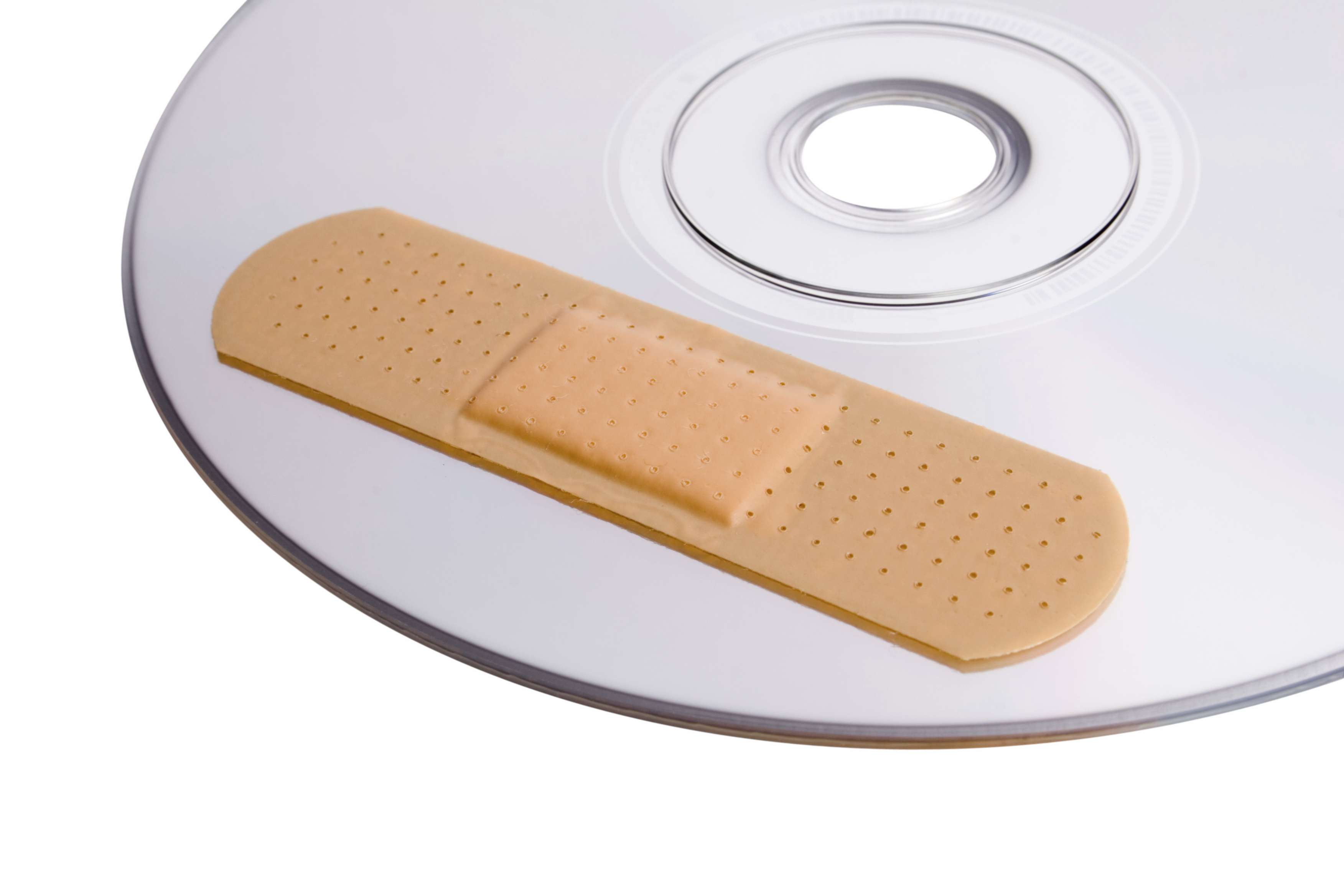 Photo of a bandage on a CD or DVD disc
