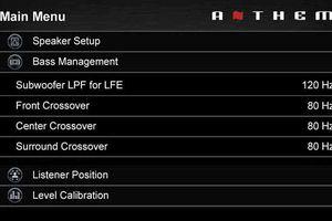 Example of home theater speaker setup menu spotlighting bass management