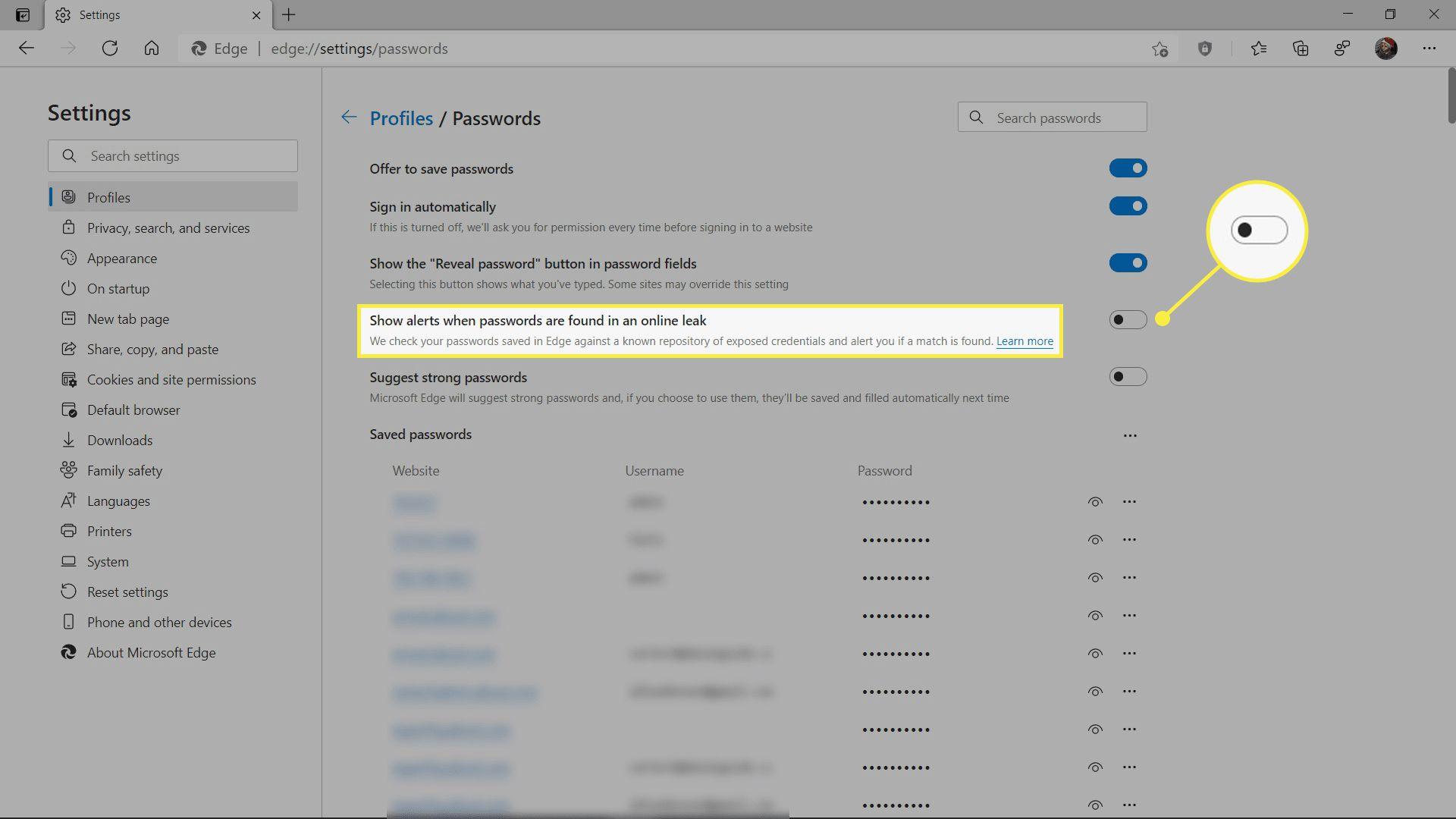 Enabling the password monitor in Microsoft Edge.