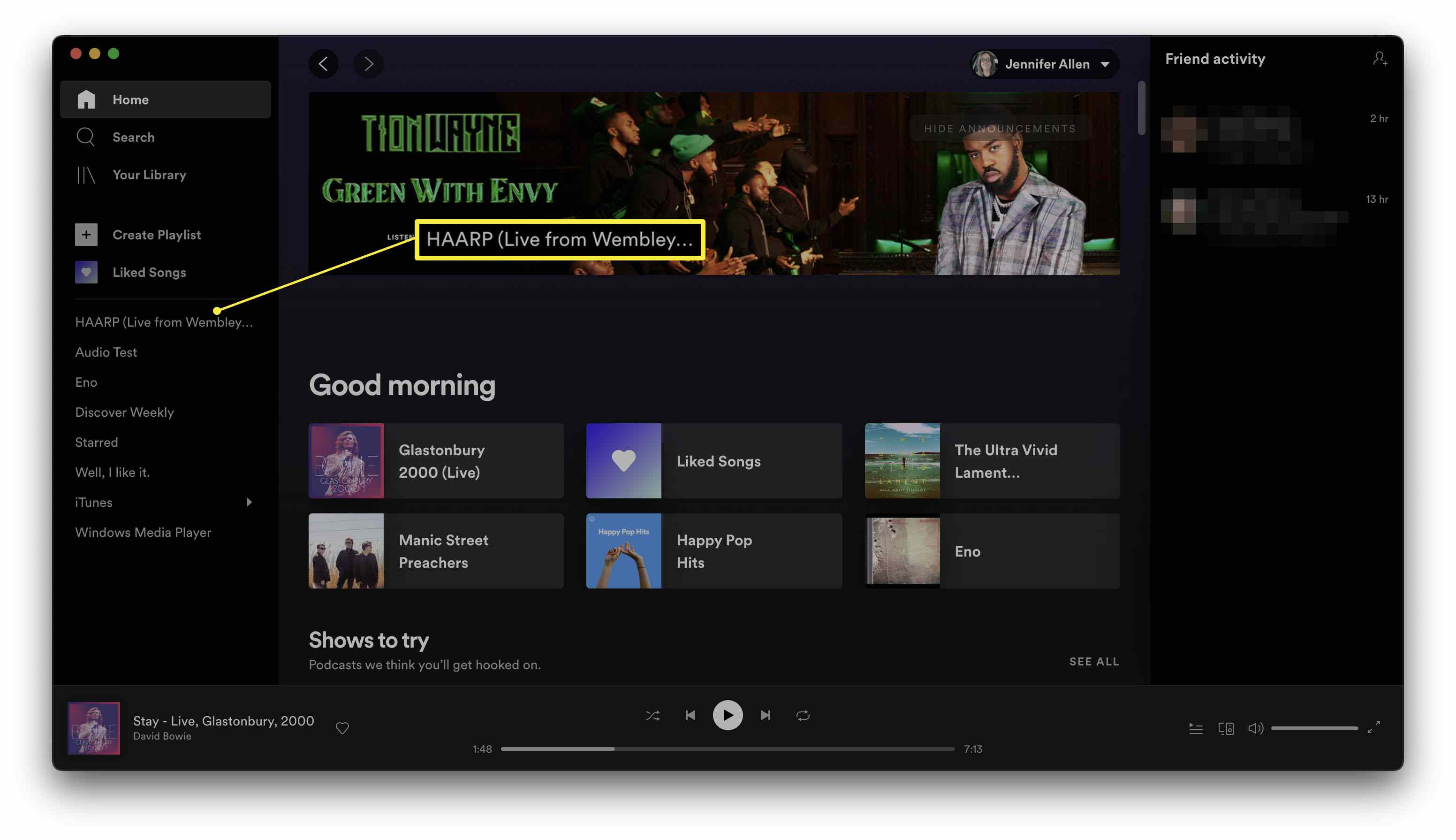 Spotify with a playlist highlighted