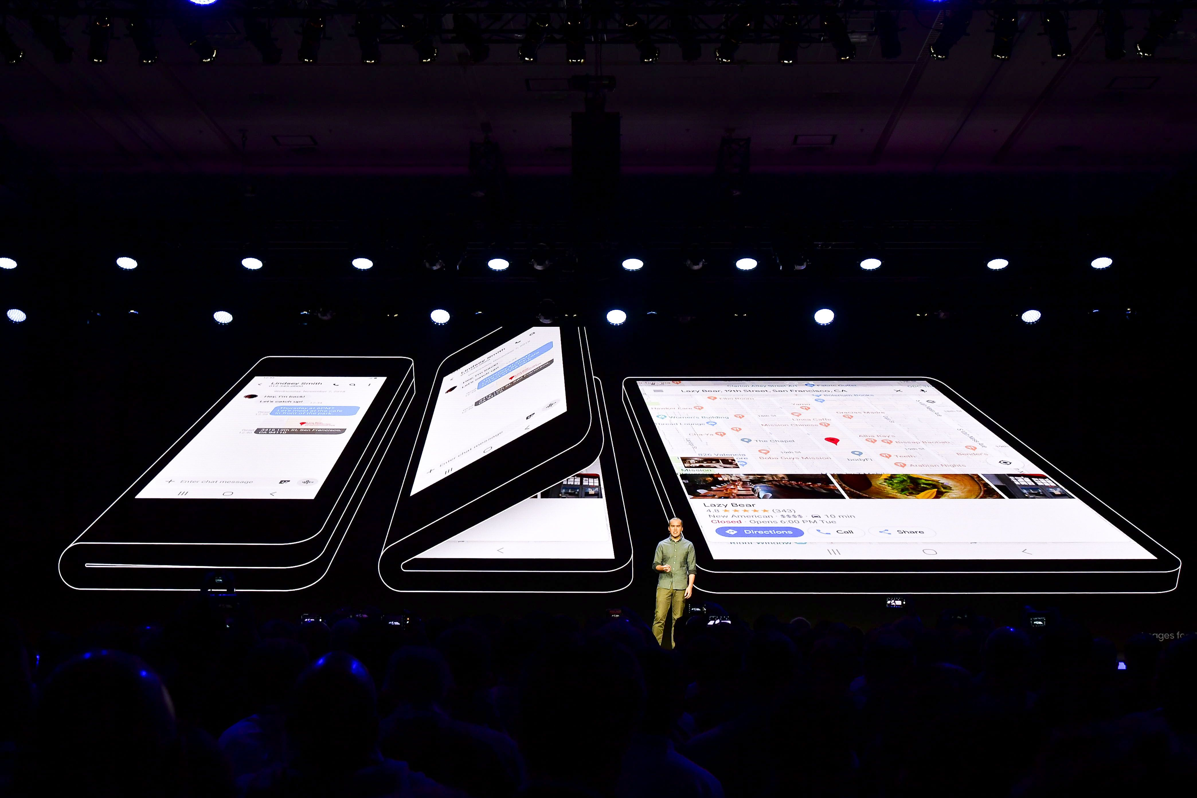 Design sketches of the Samsung Foldable phone shown on-screen at the 2018 Samsung Developers Conference