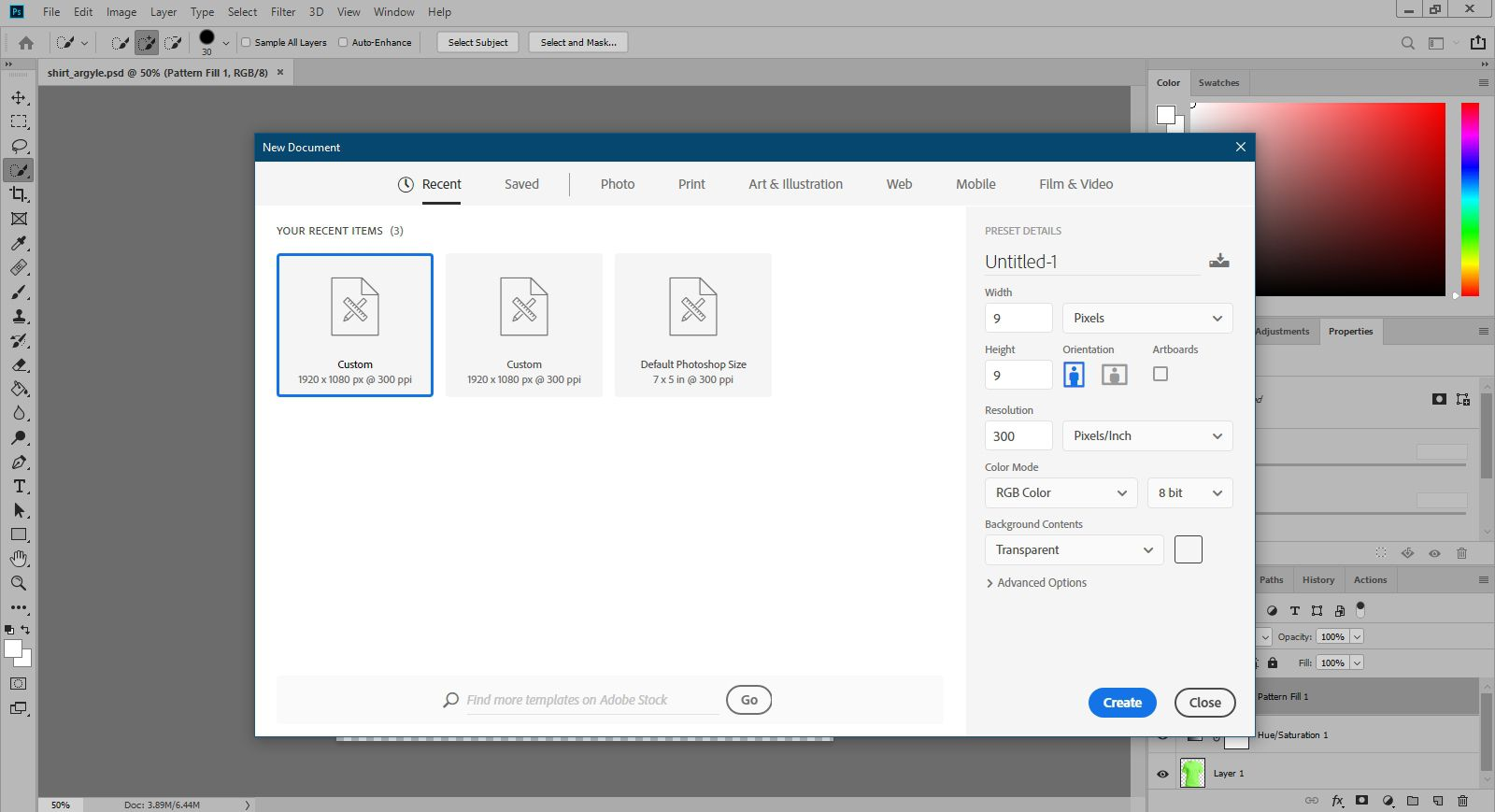 Creating a new pattern file in Photoshop.