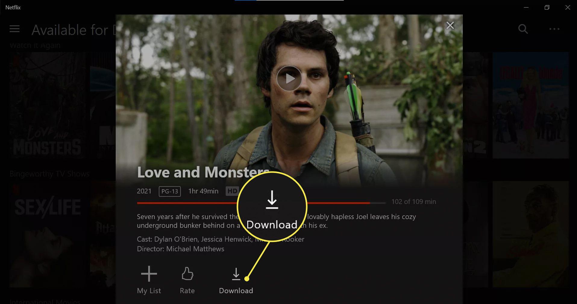 Download option highlighted on Netflix Windows app.