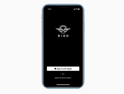 Sign in with Apple button on the Bird app
