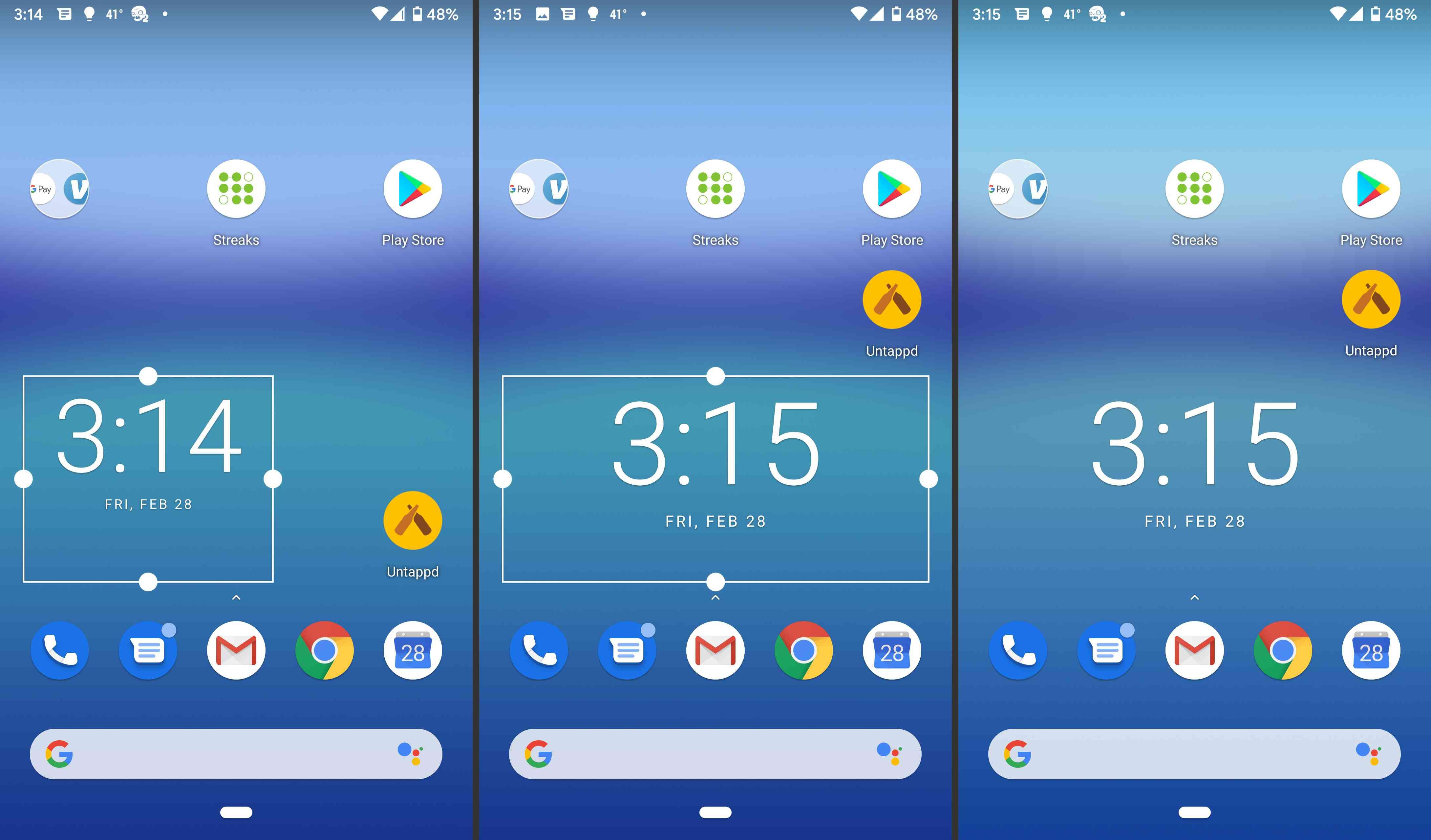 Android widget resizing.