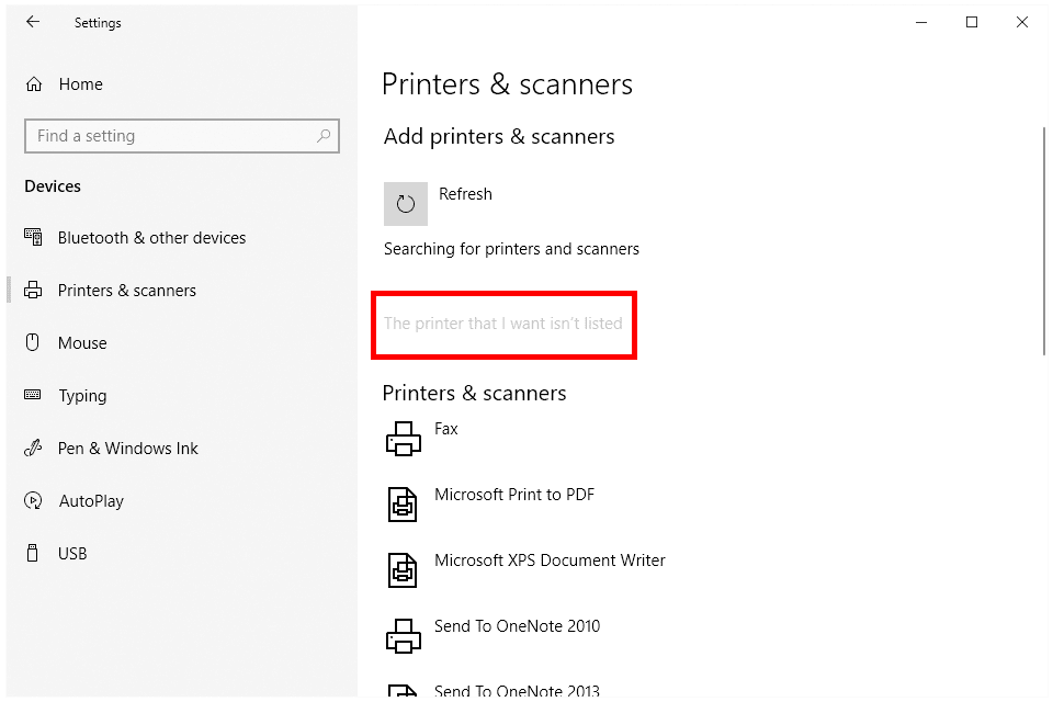 Screenshot of the printer not listed link in Windows 10