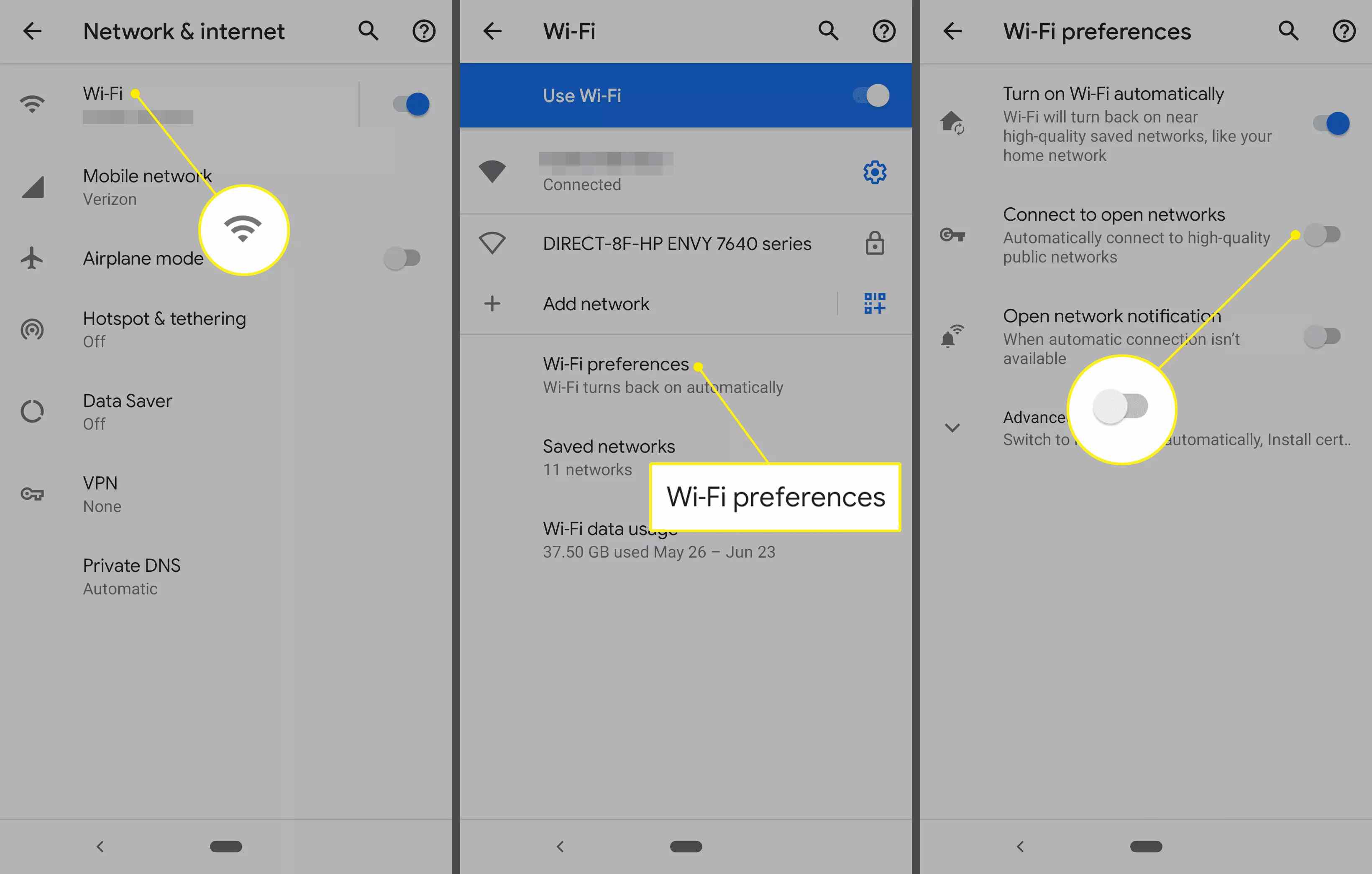 Path to stop connection to open networks on an Android phone