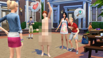 A sim surprises his neighbors in The Sims