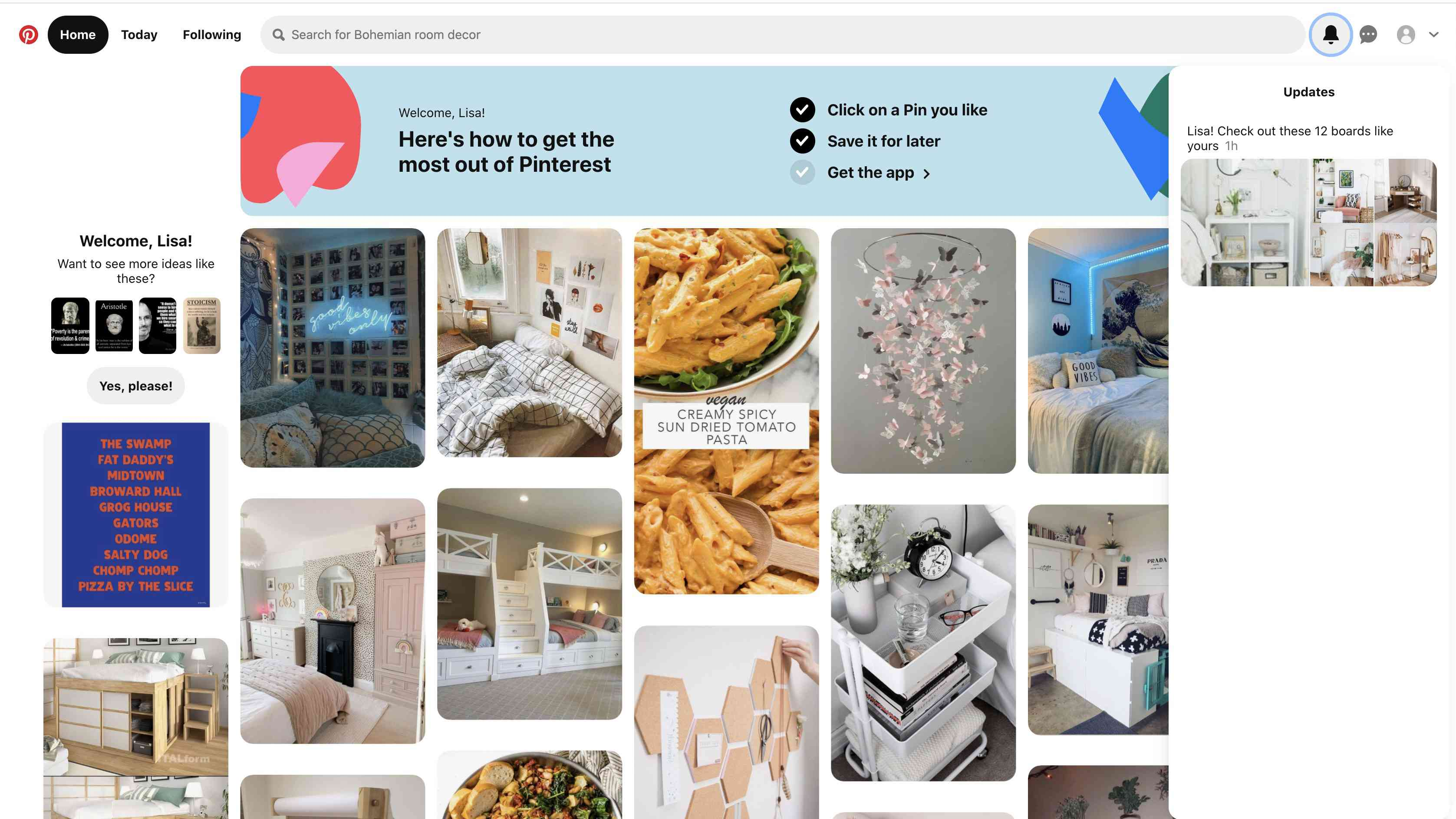 Your Pinterest notifications.