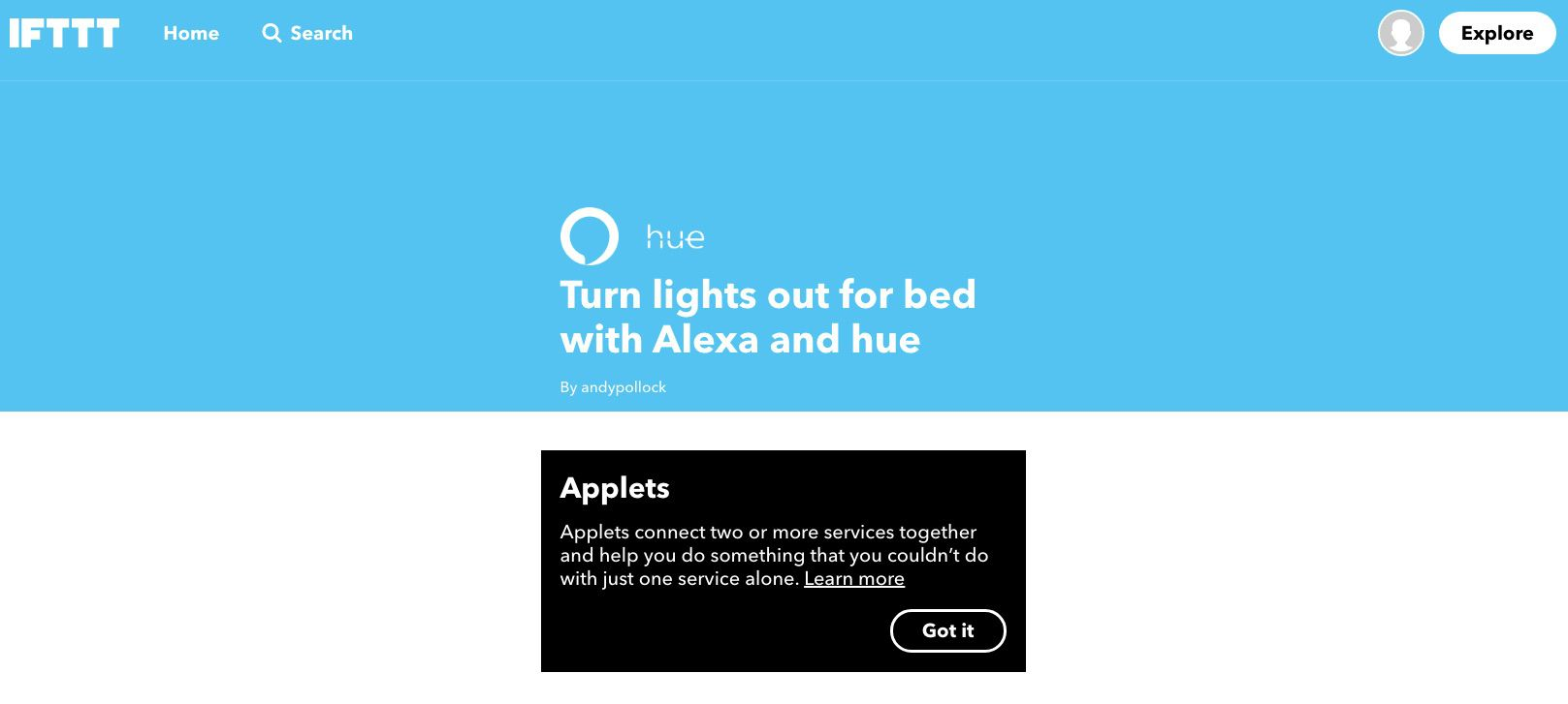 Screenshot of IFTTT Applet Telling Alexa to Turn Lights Out for Bed