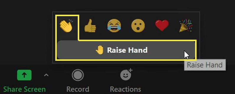 The Raise Hand button in Zoom.