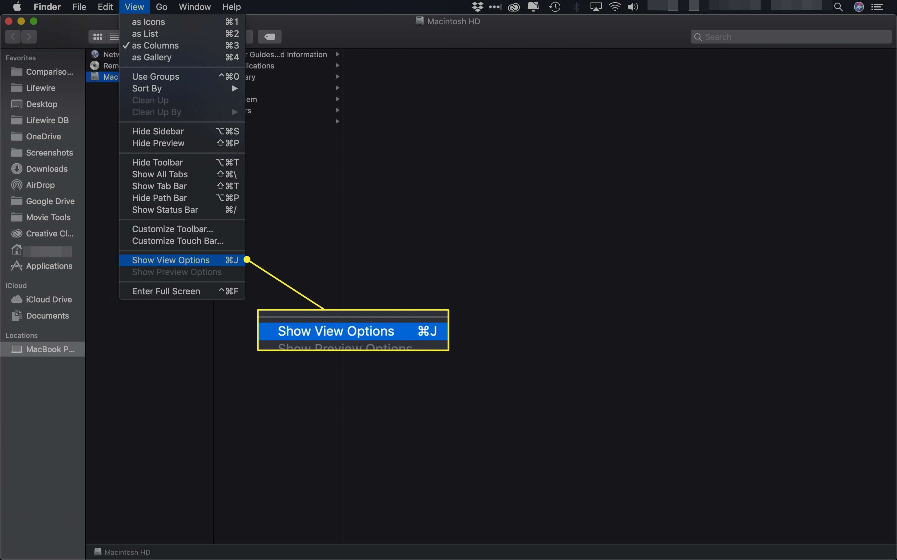 The Show View Options command in macOS