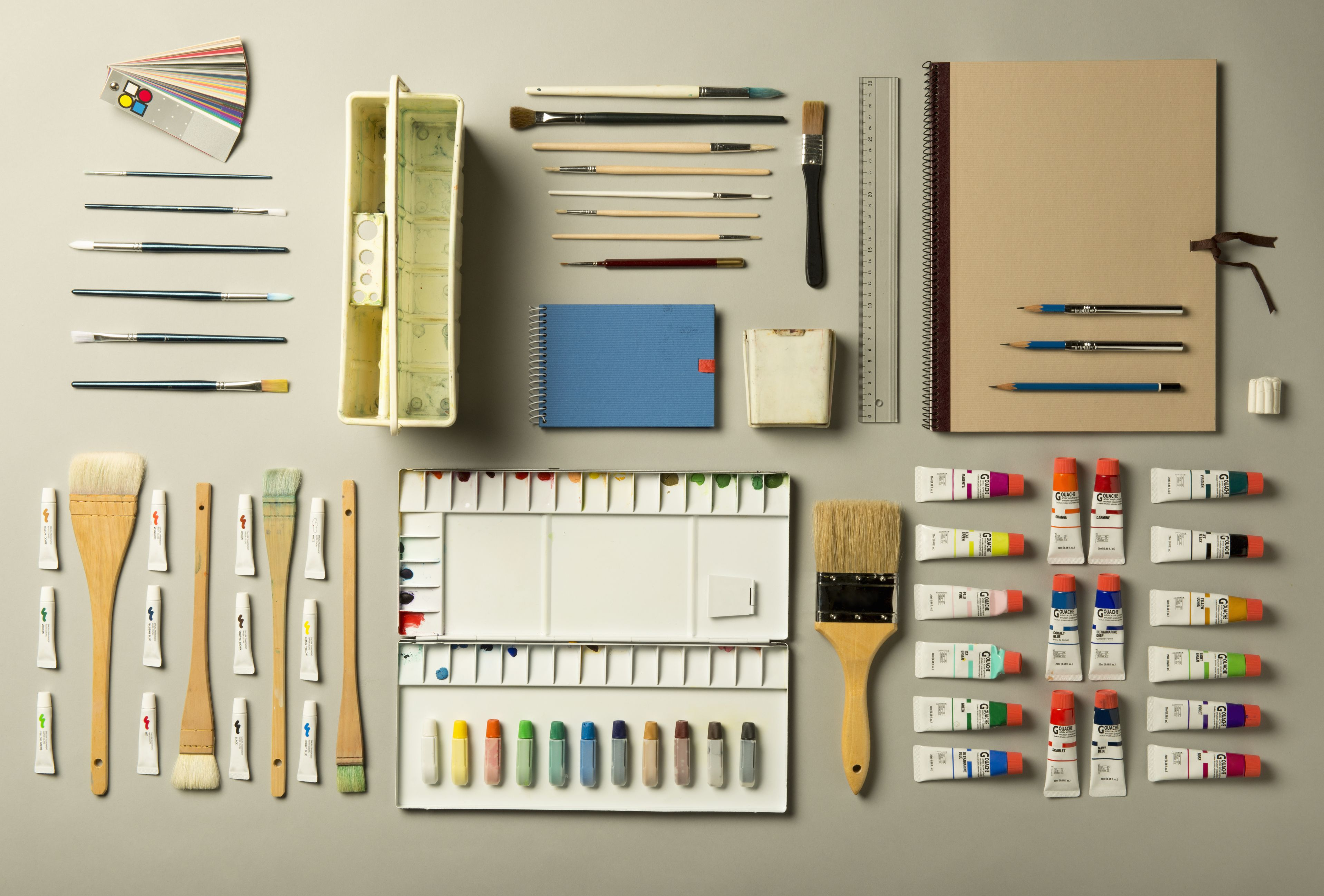 Watercolor painting supplies shot knolling style.