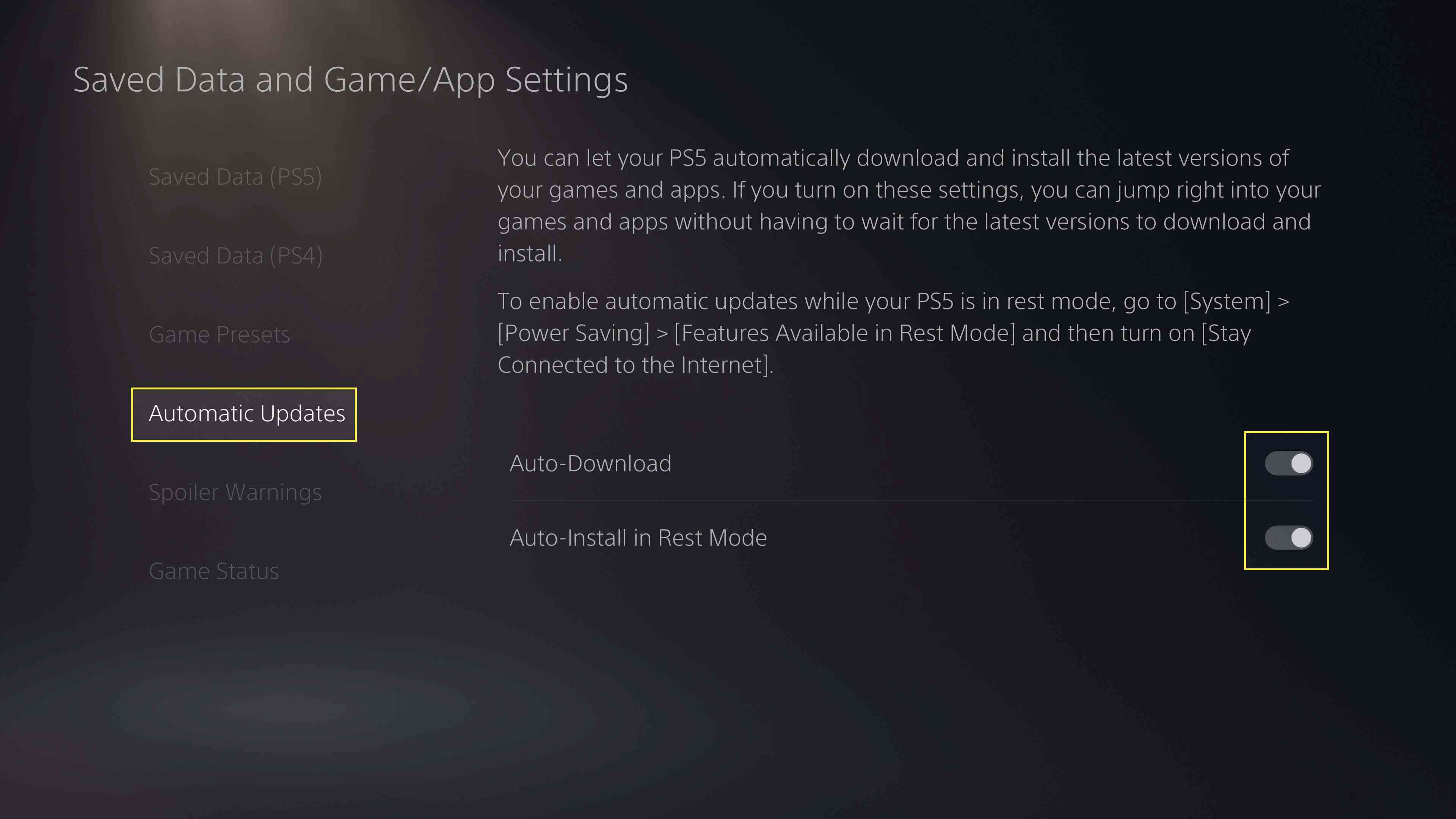 Turning off Auto-Download and Auto-Install in Rest Mode on PS5.