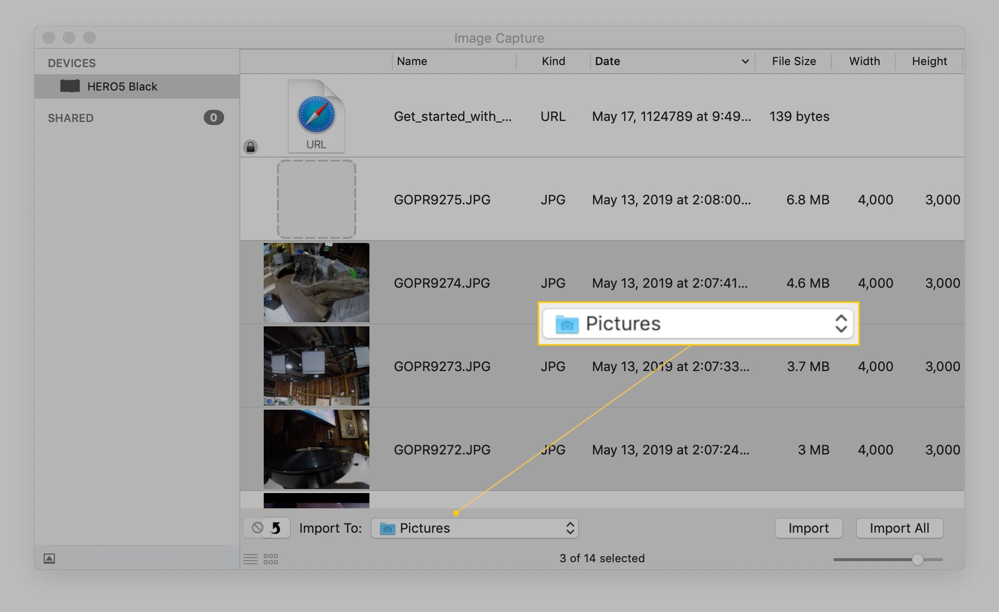 Screenshot of selecting the destination folder.