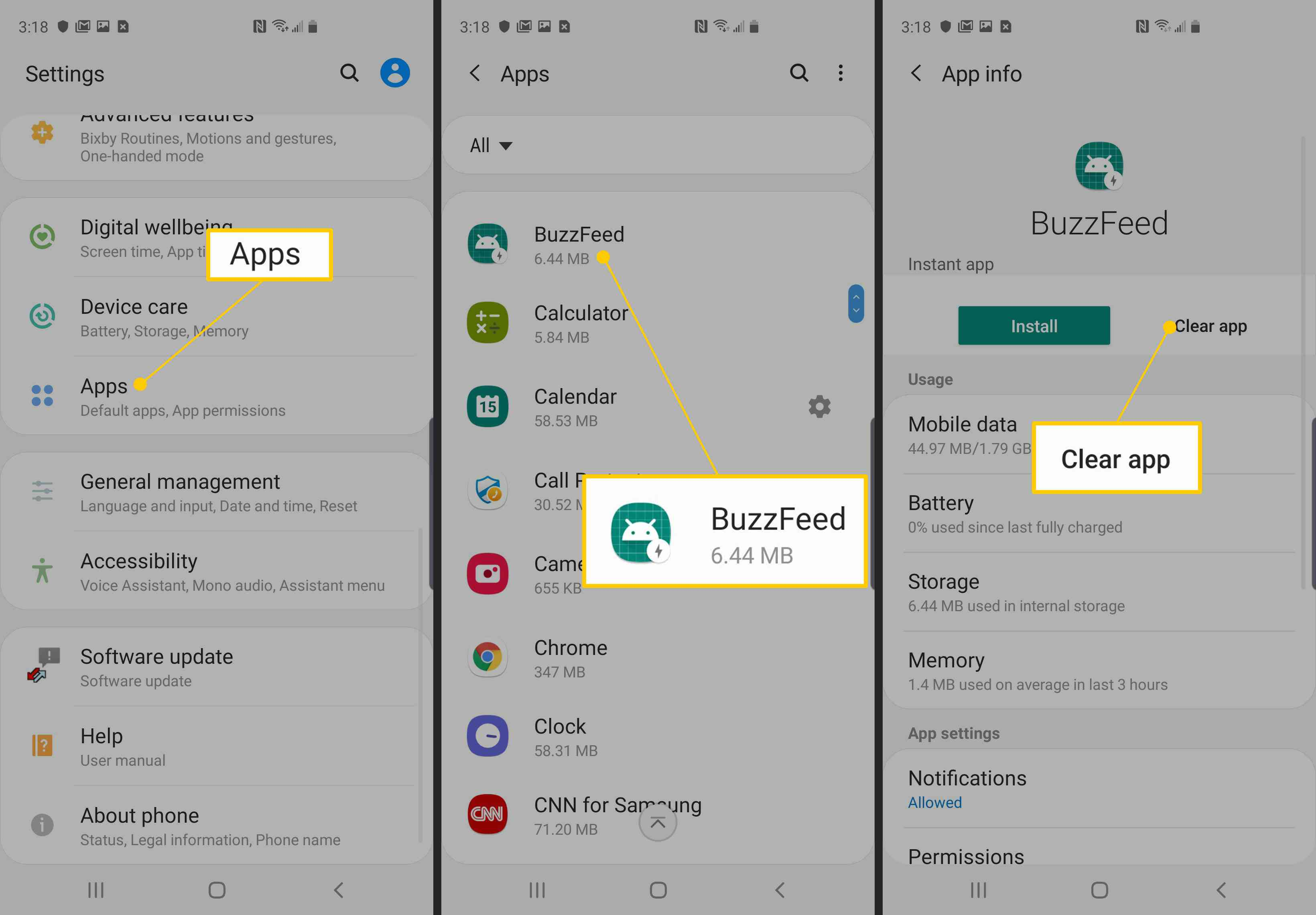 Apps, BuzzFeed, Clear app in Android settings