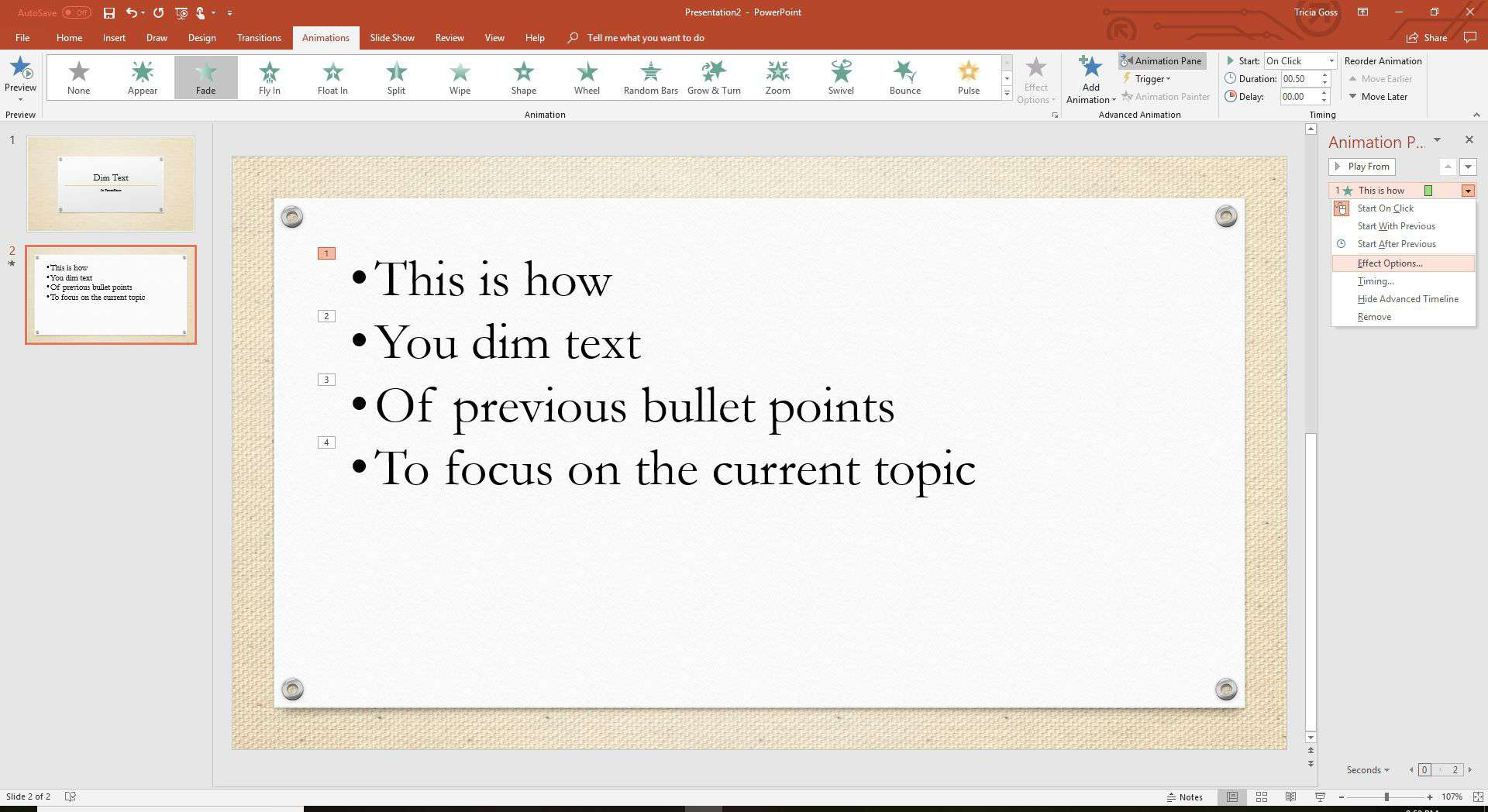 A PowerPoint screenshot show different animation effect options.