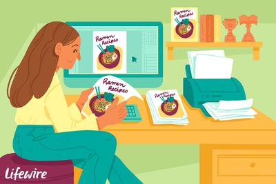 Person using desktop publishing to make a book of ramen recipies