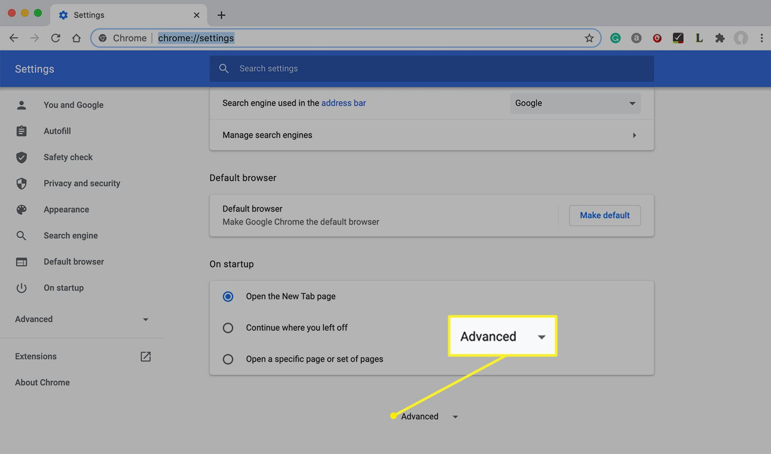 Chrome settings with Advanced highlighted