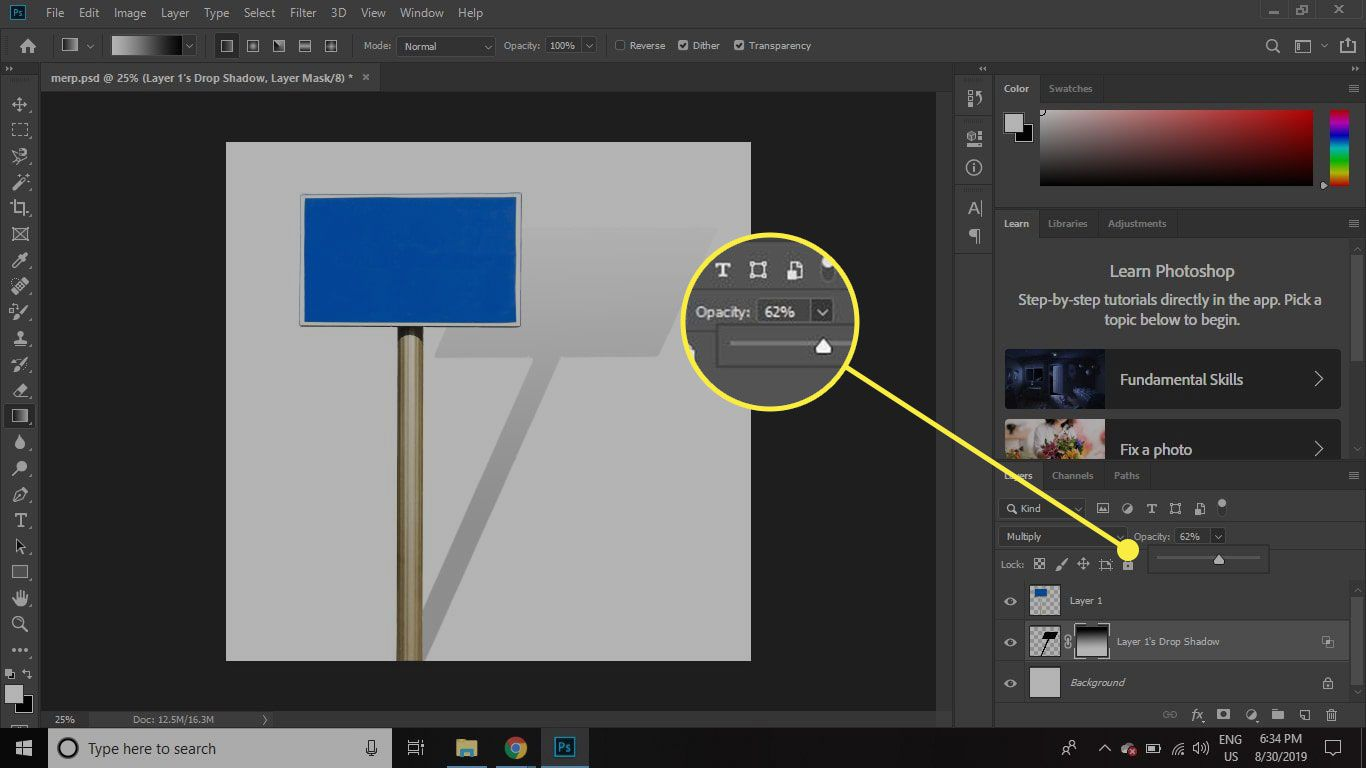 A screenshot of Photoshop with a layer's opacity slider highlighted