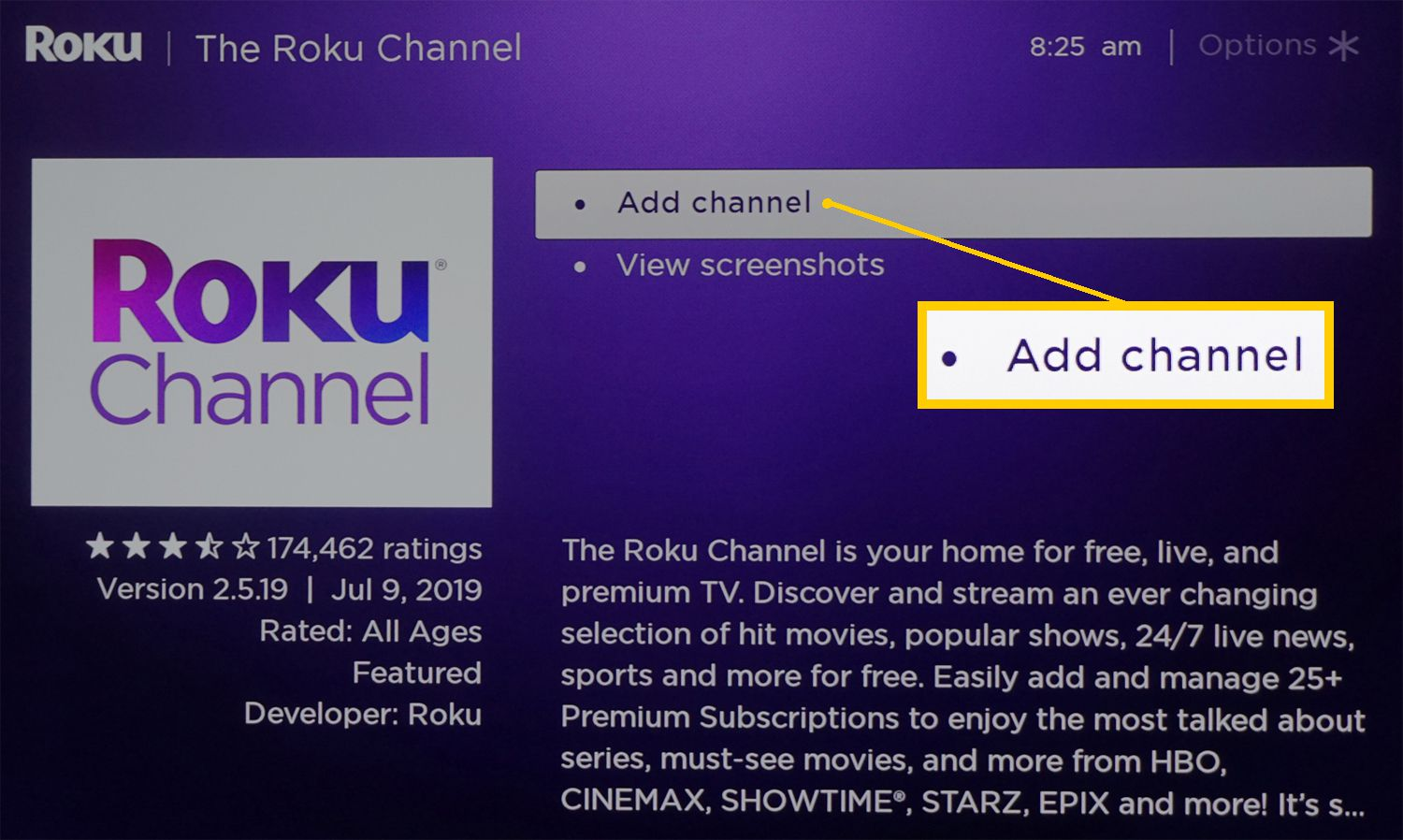 Roku Device – Add The Roku Channel to Viewing Selection