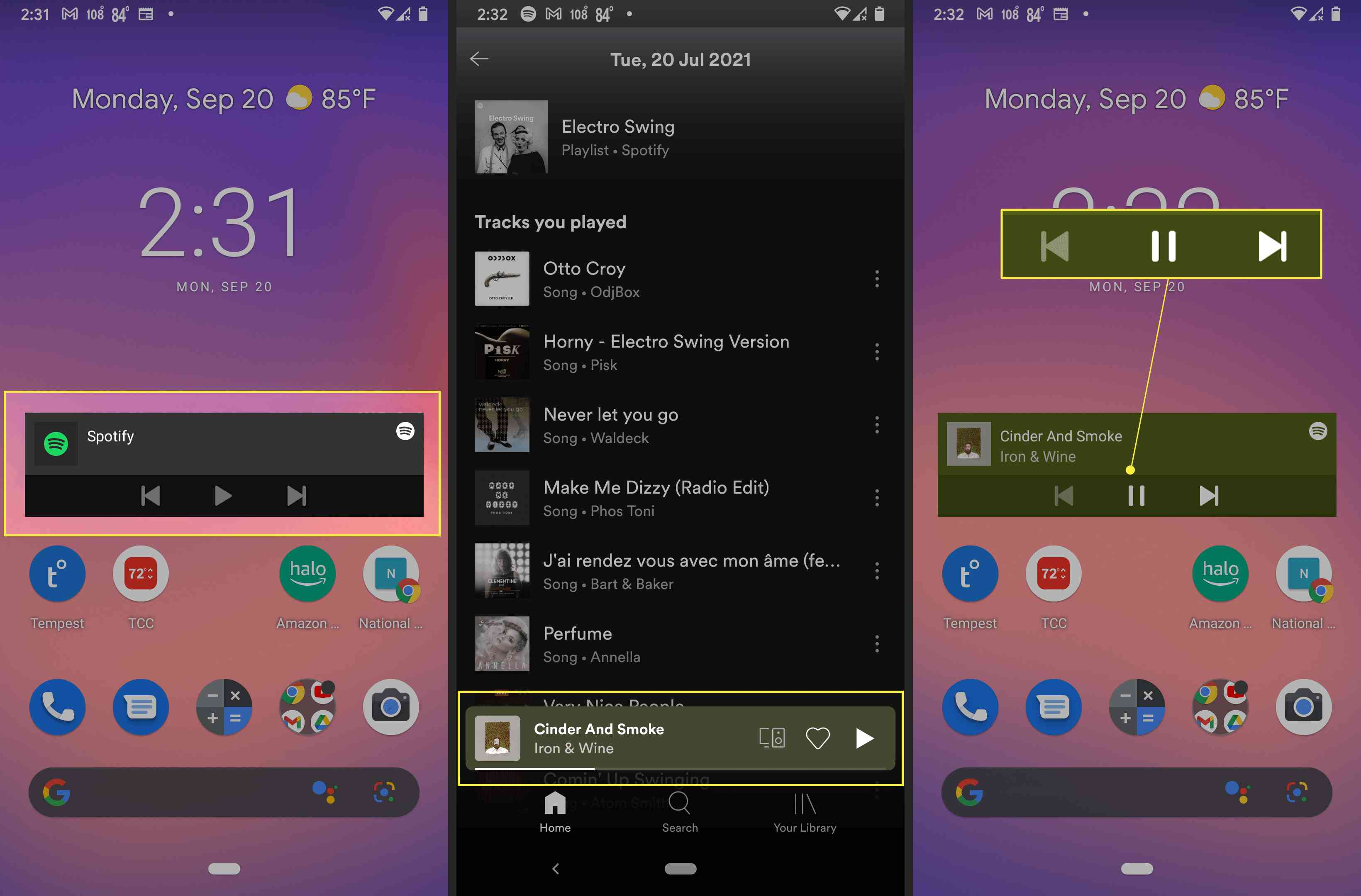 Android with Spotify widget highlighted, Spotify song and play button highlighted, and playback controls on widget highlighted