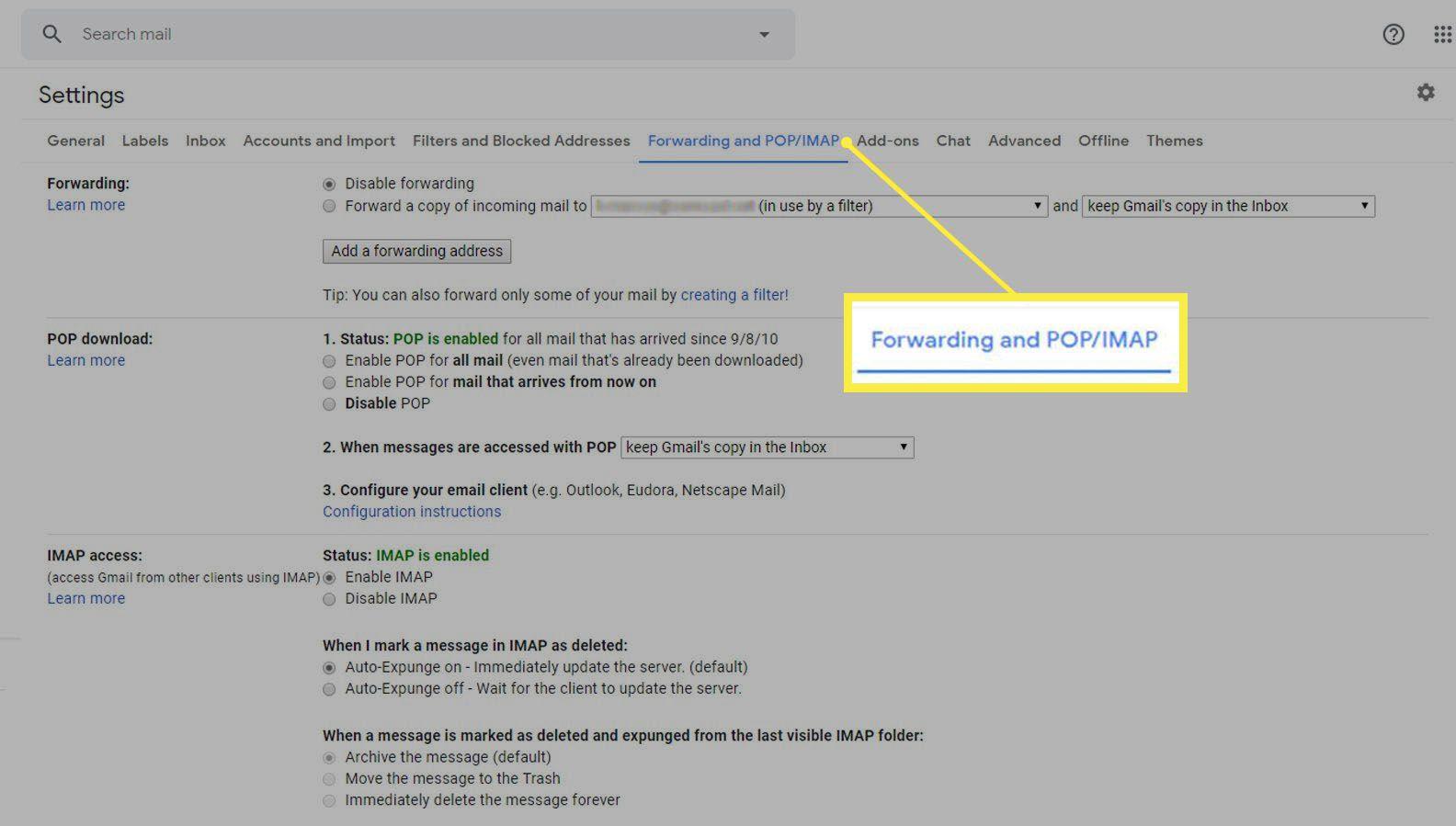 Forwarding and POP/IMAP tab in Gmail settings.
