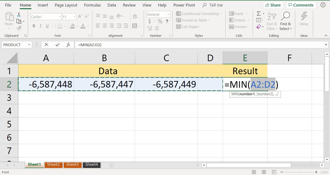 A screenshot showing data being selected as the function arguments for the Excel MIN function