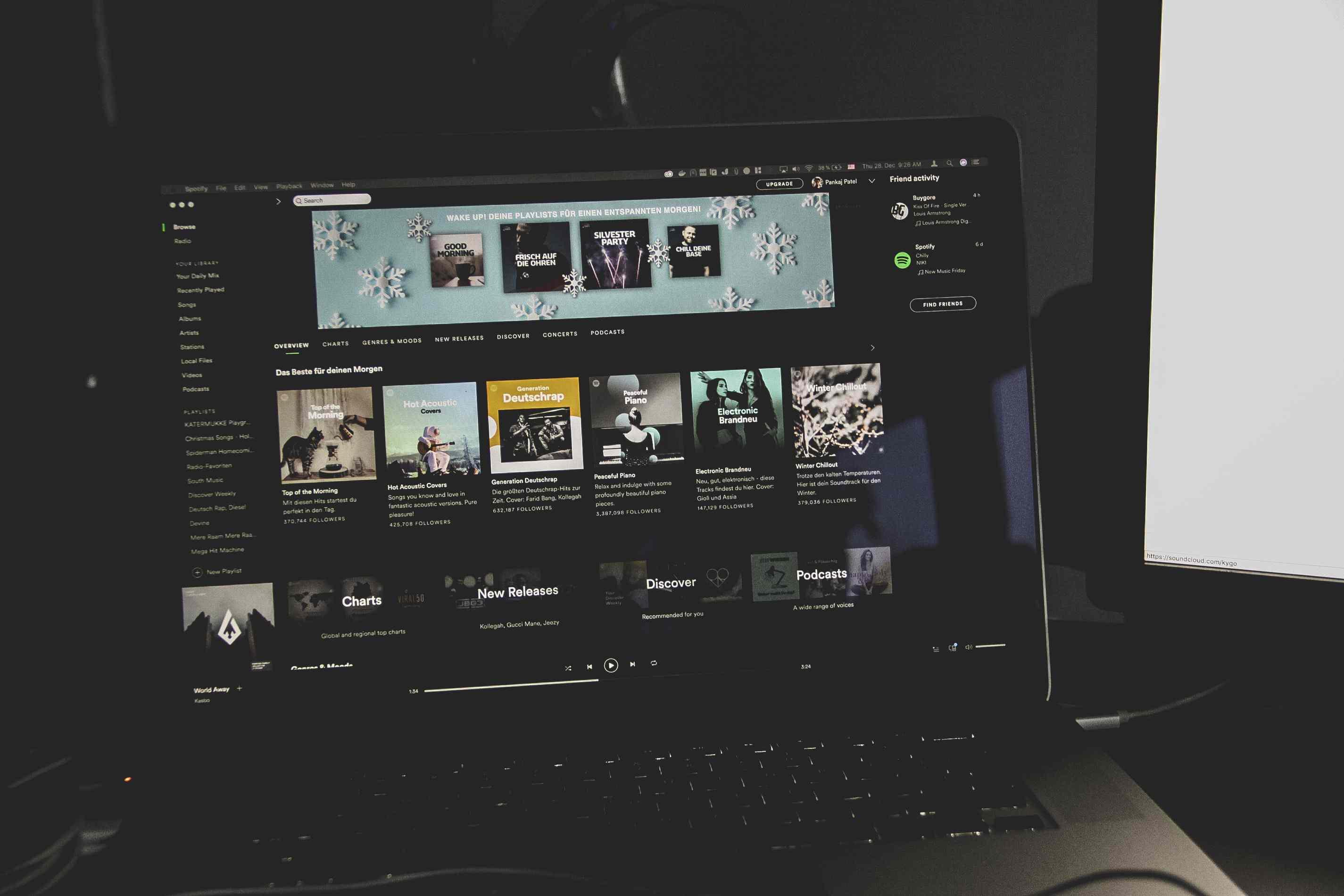 Spotify on a MacBook