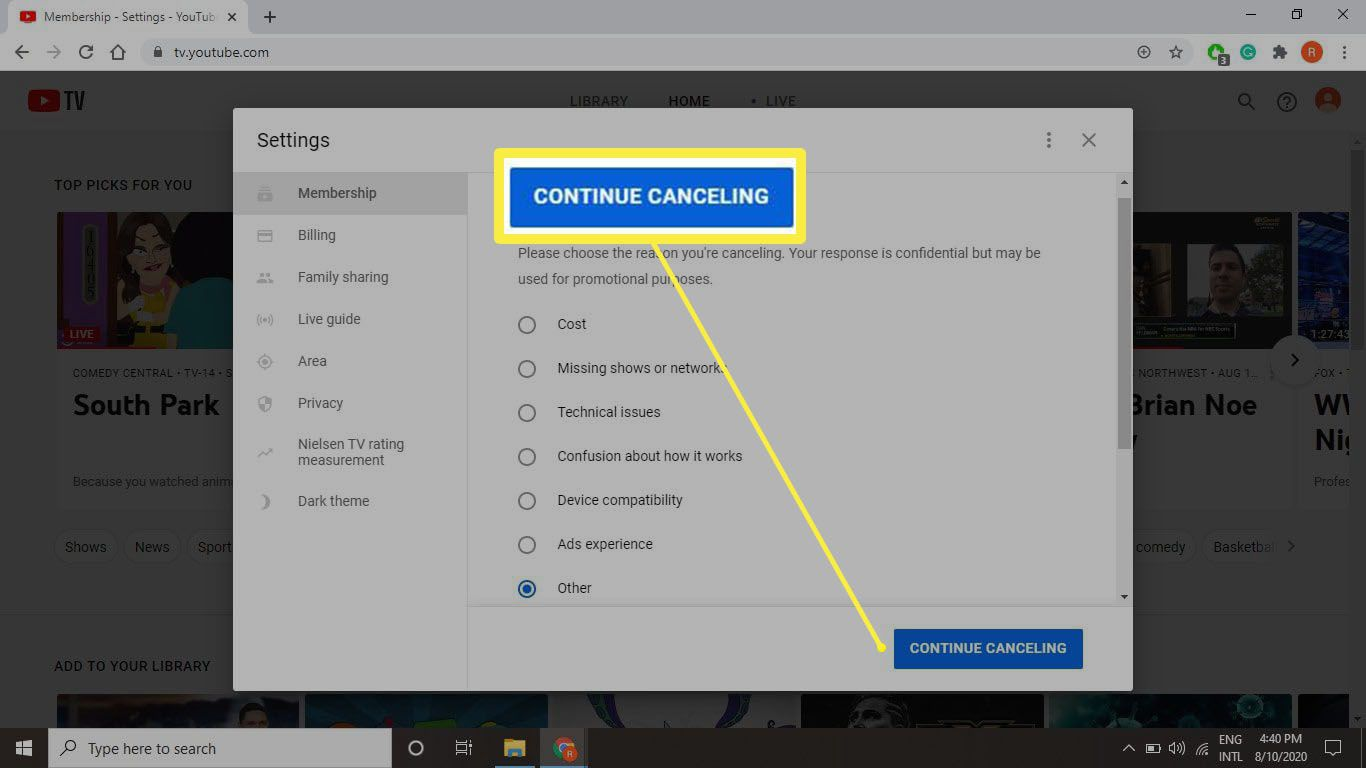 A screenshot of attempting to cancel your account on tv.youtube.com. It ain't easy.