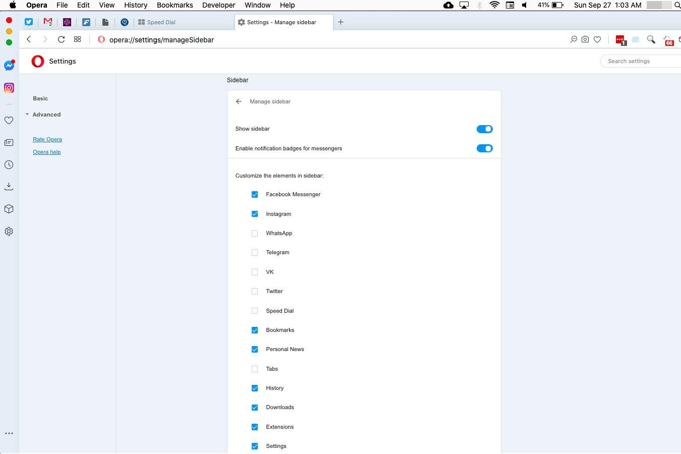 Opera sidebar settings