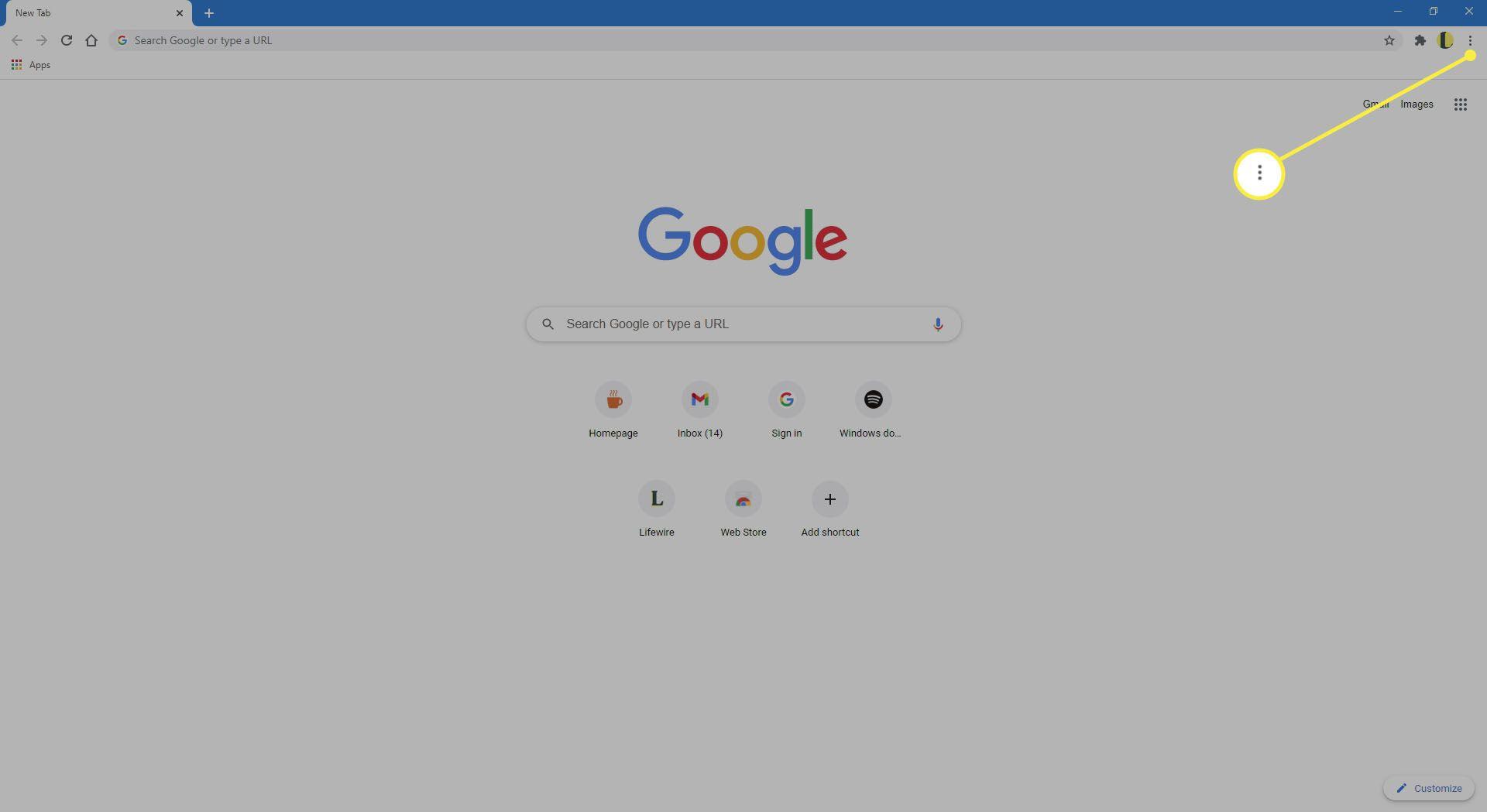 The Settings menu in Chrome.