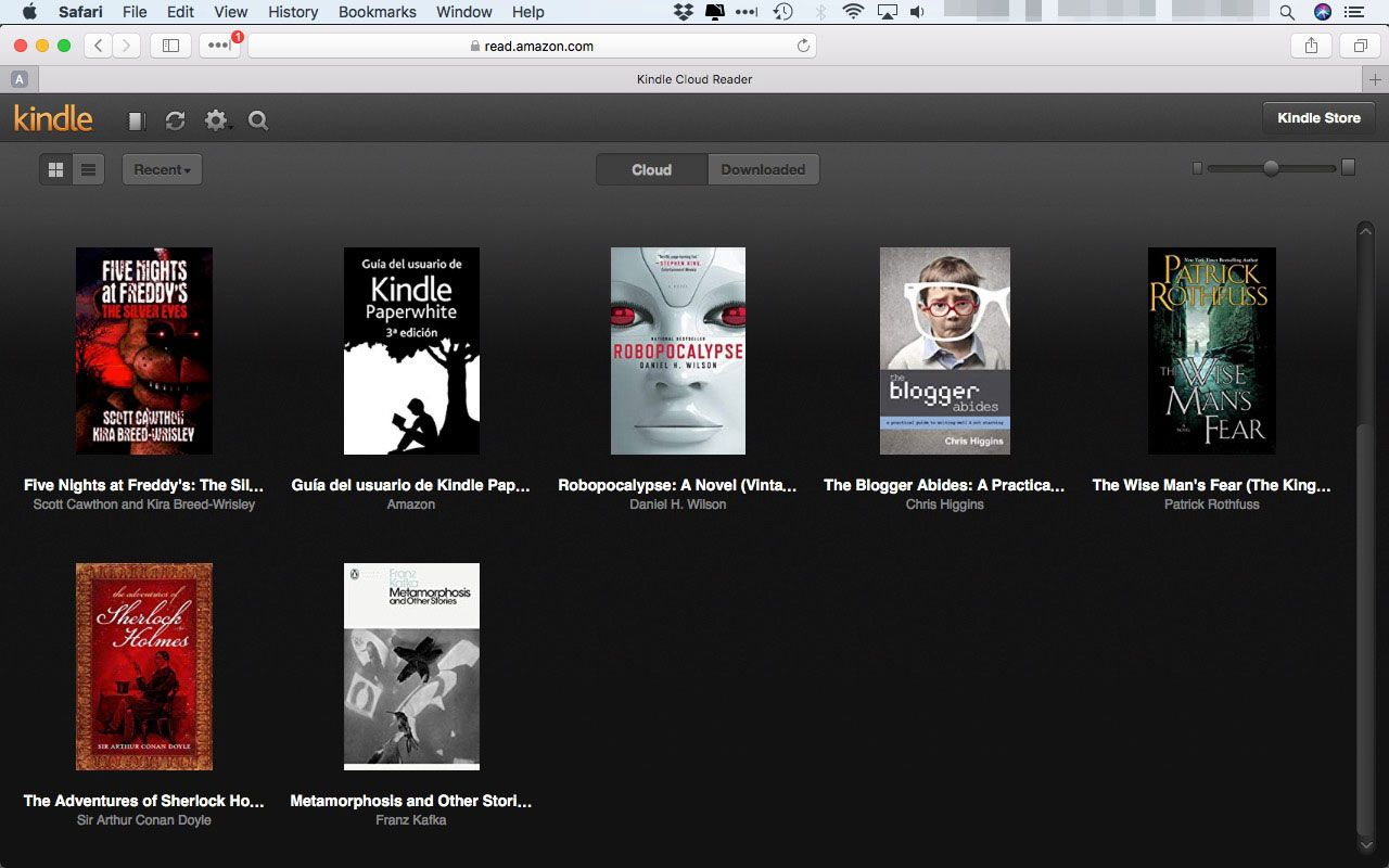 A Kindle library in Kindle Cloud Reader