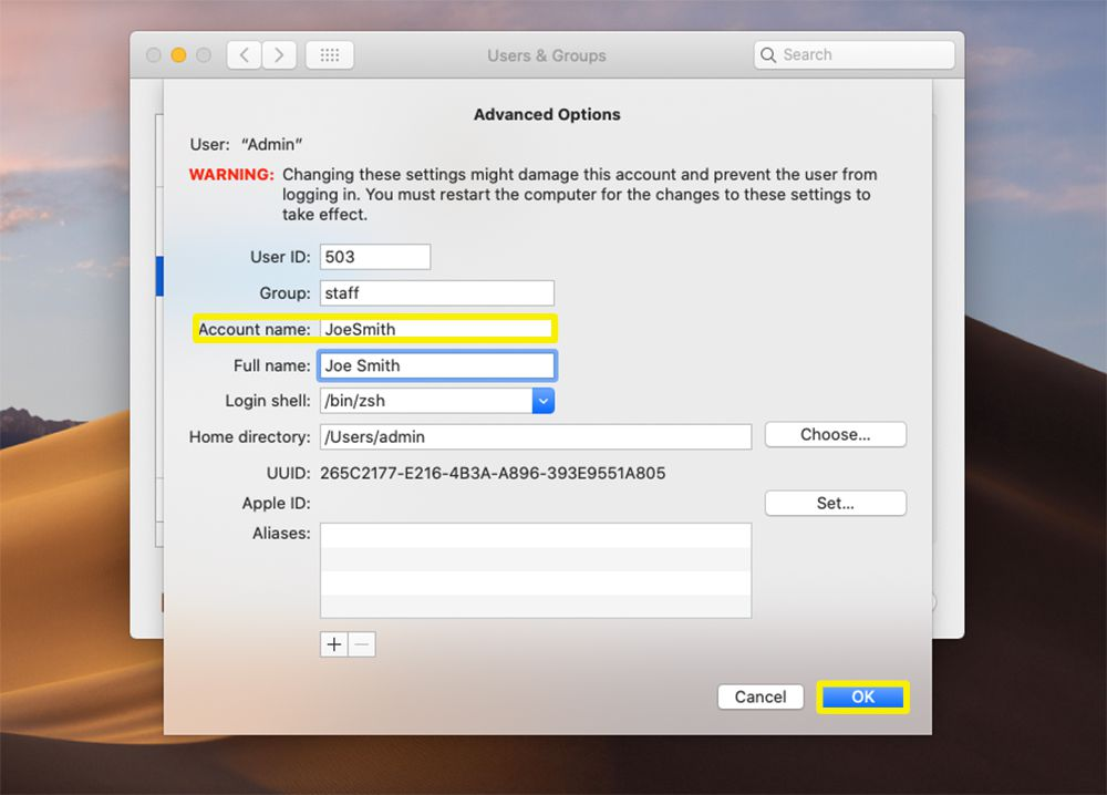 Account name field and OK button highlighted from macOS Users & Groups Advanced Options