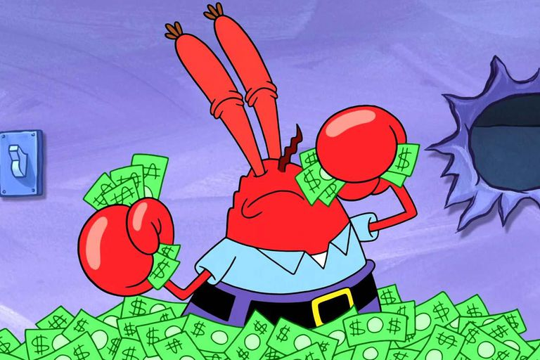 Mr. Krabs with a pile of money