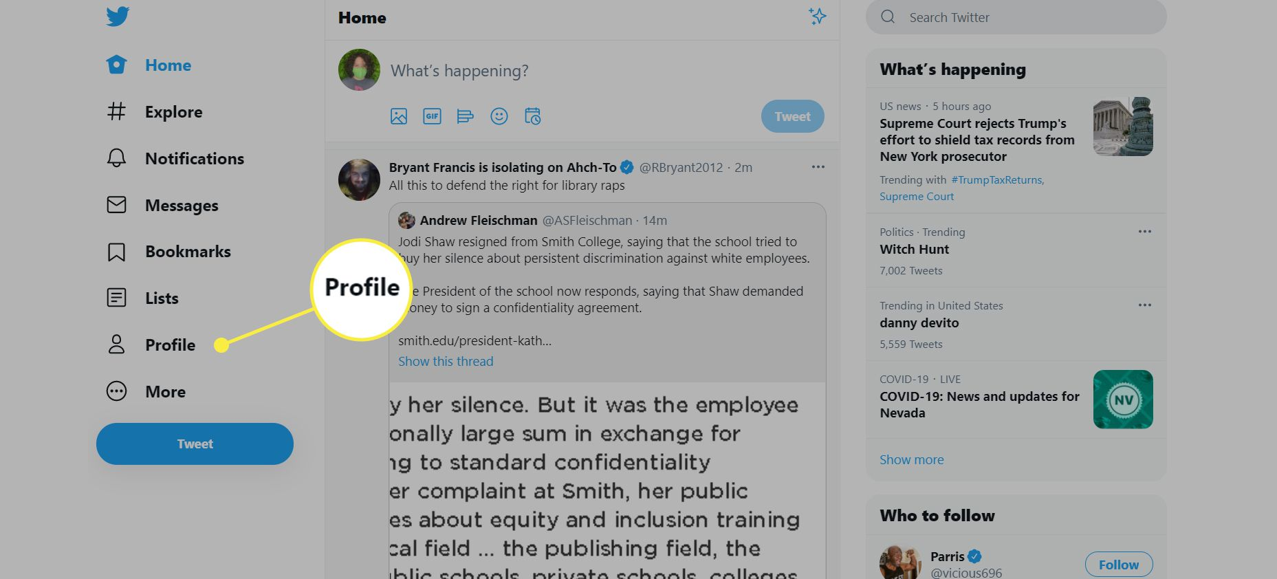 A Twitter home page with the Profile option highlighted