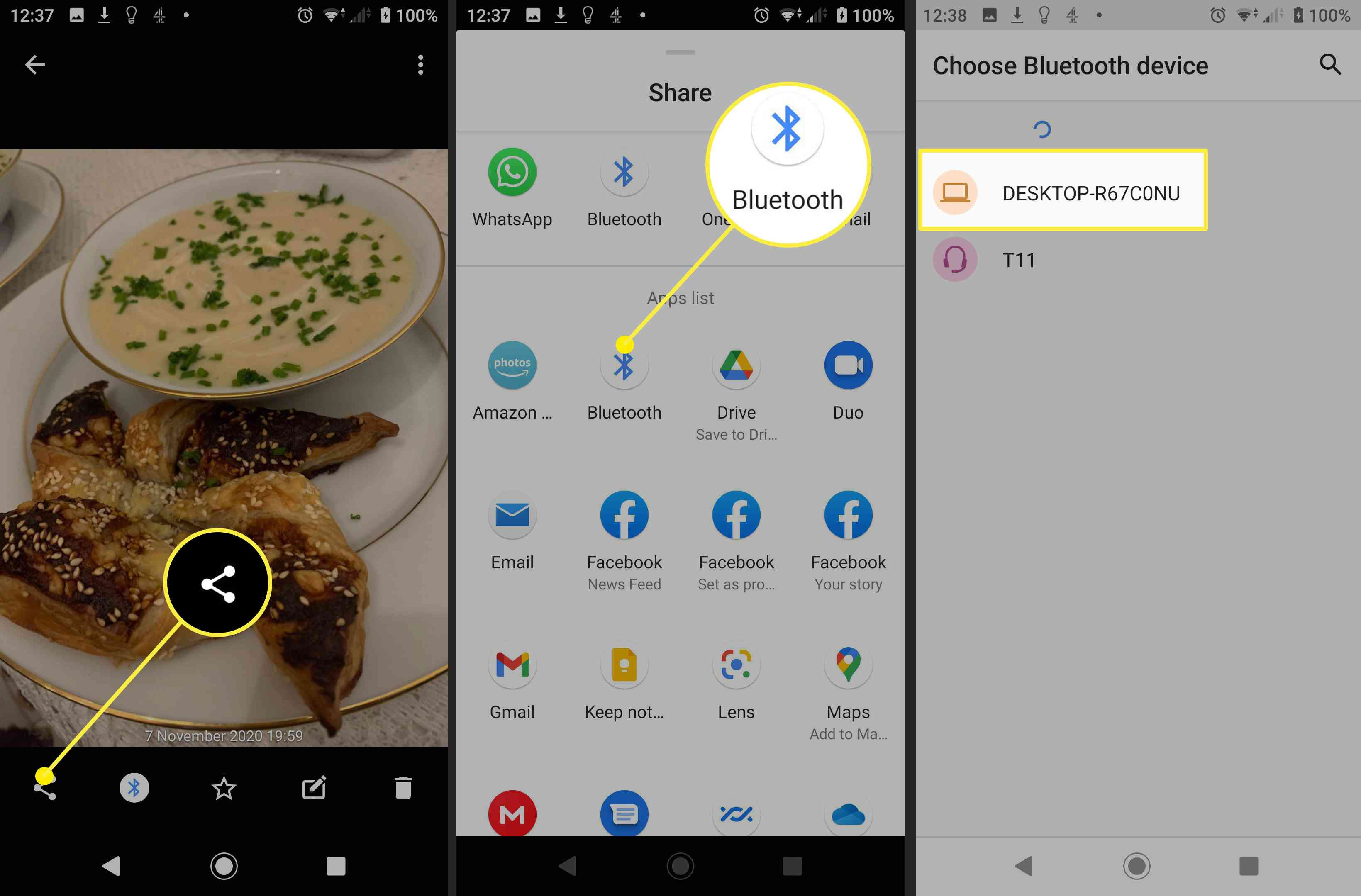 Screenshots of setting up a Bluetooth photo transfer between Android and a Mac.
