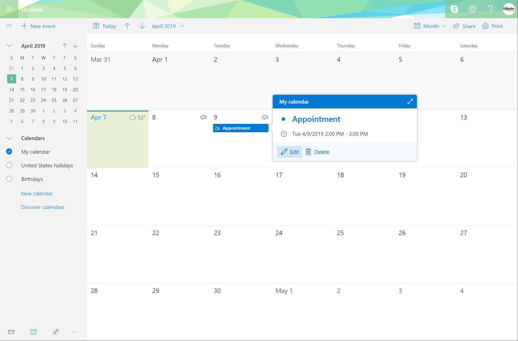 Outlook.com calendar event selected