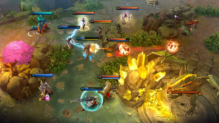 Players battle each other in the mobile MOBA Vainglory