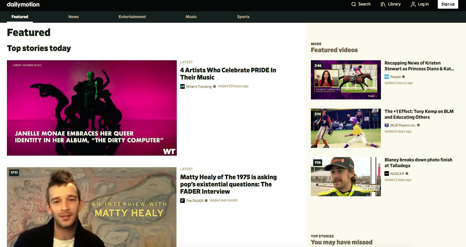 Dailymotion home page